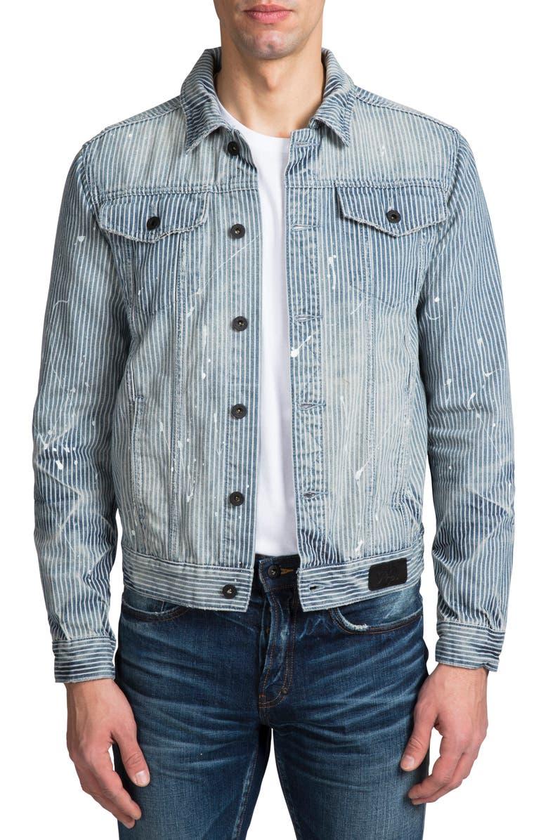 PRPS Conductor Stripe Denim Jacket, Main, color, AUTO