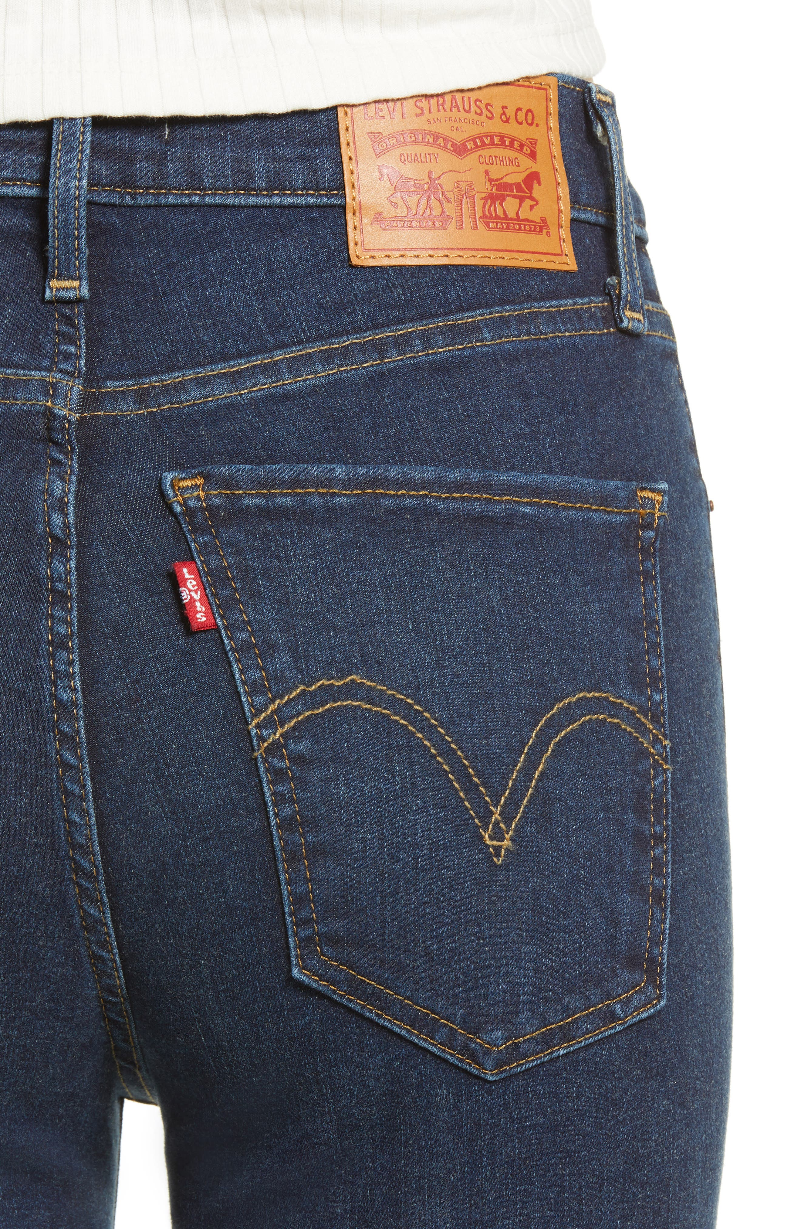 LEVI'S<SUP>®</SUP>, Mile High Super Skinny Jeans, Alternate thumbnail 5, color, JET SETTER