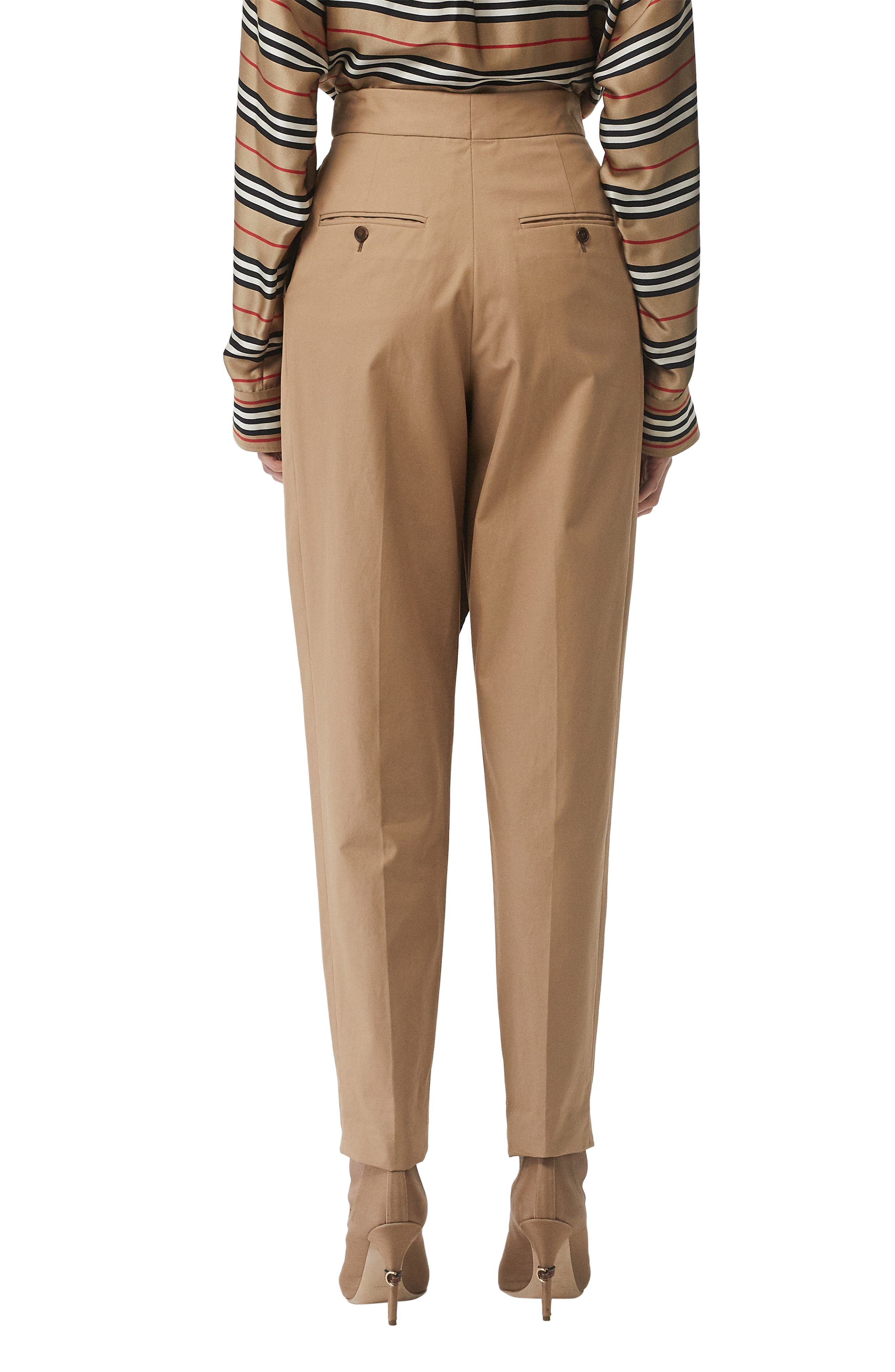 BURBERRY, Scarf Belt Cotton Trousers, Alternate thumbnail 2, color, DRIFTWOOD