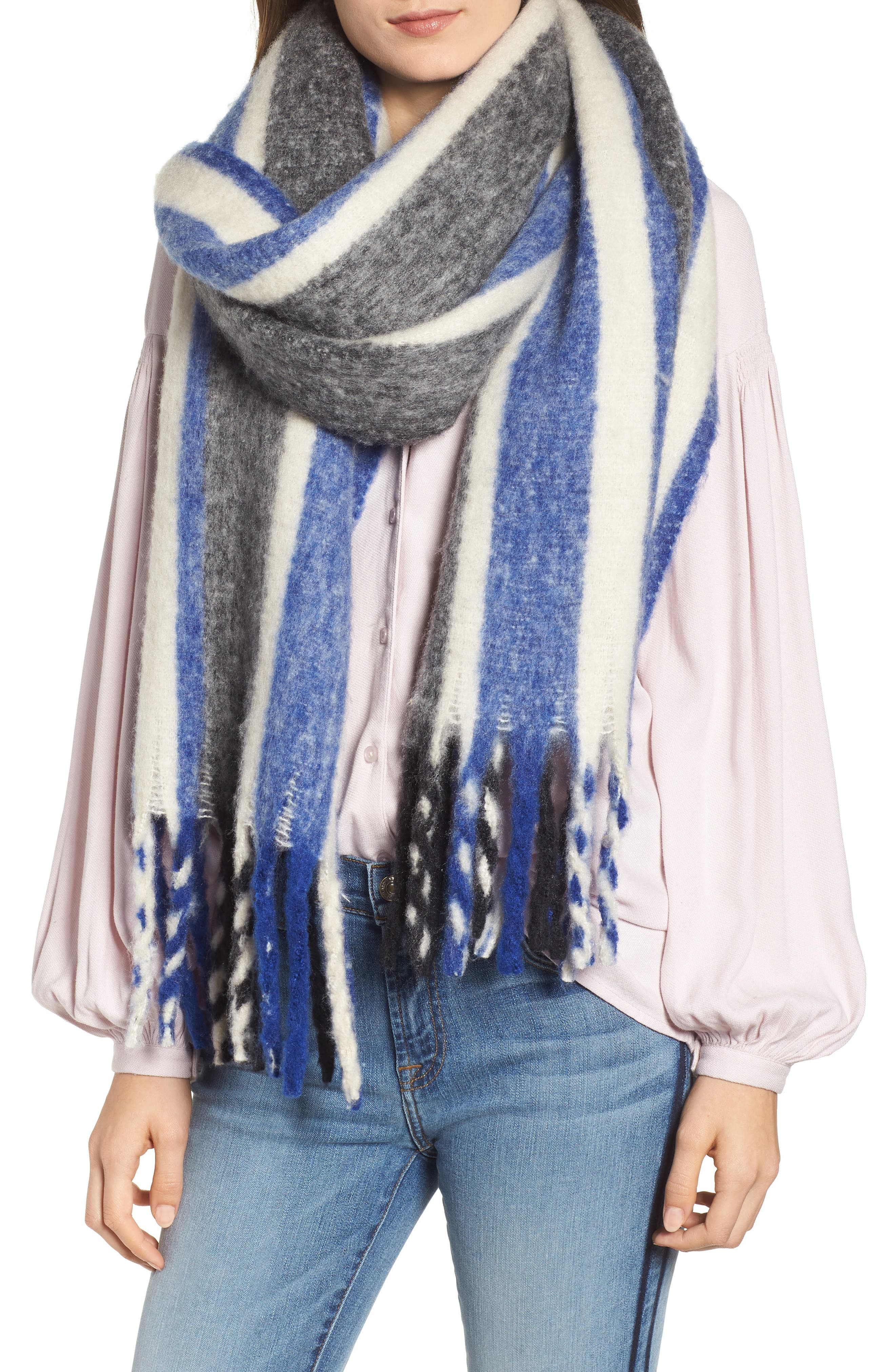 TREASURE & BOND, Striped Scarf, Main thumbnail 1, color, 400