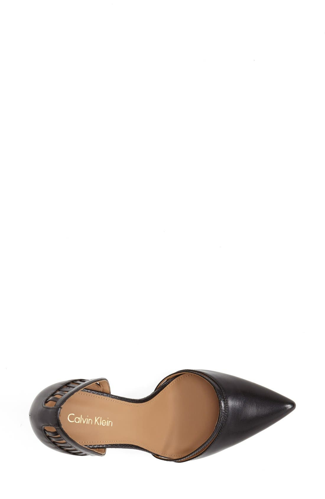 CALVIN KLEIN, 'Gilia' Cutout Leather d'Orsay Pump, Alternate thumbnail 4, color, 001
