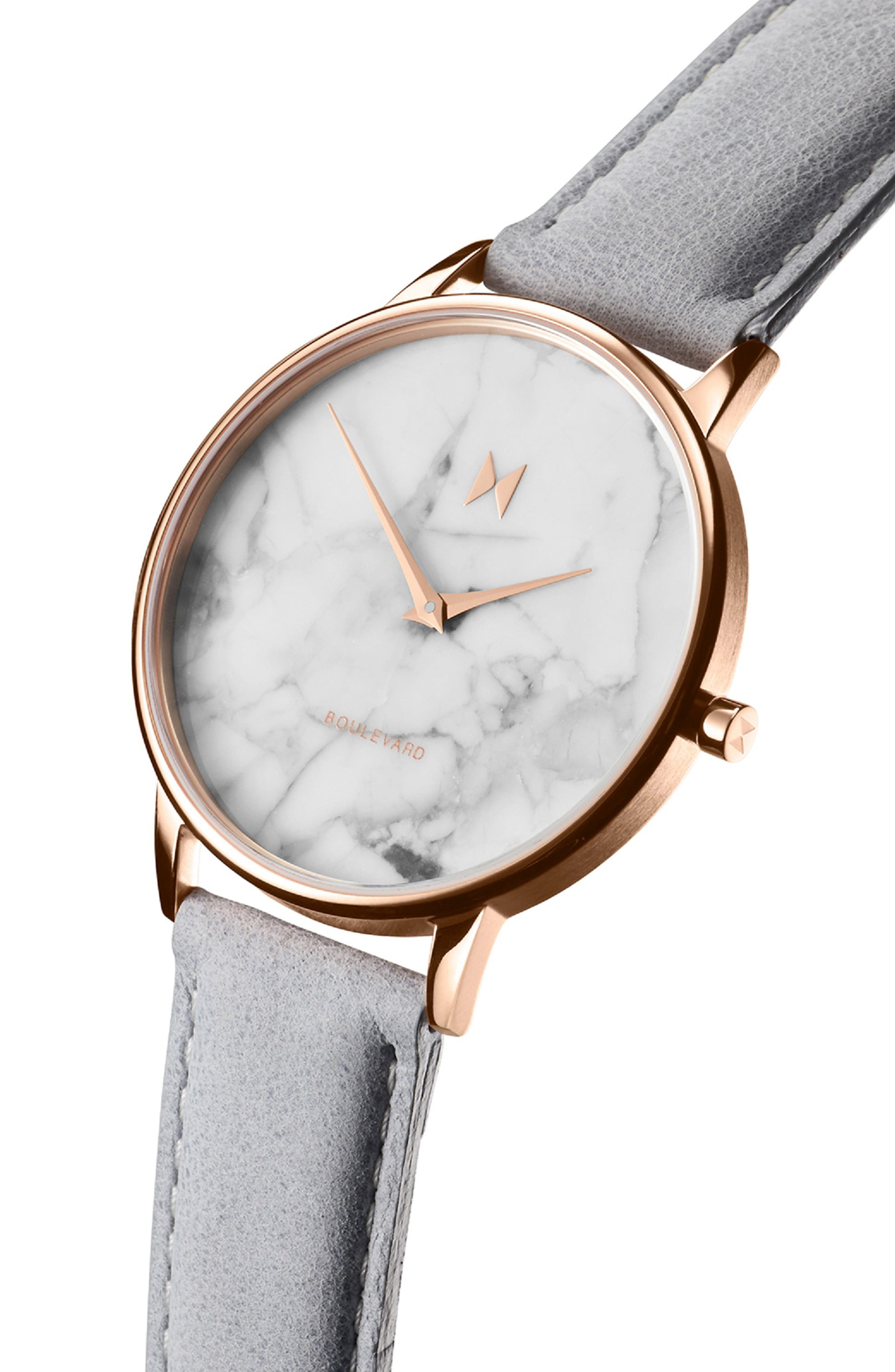 MVMT, Boulevard Leather Strap Watch, 38mm, Alternate thumbnail 4, color, GREY/ WHITE MARBLE/ ROSE GOLD