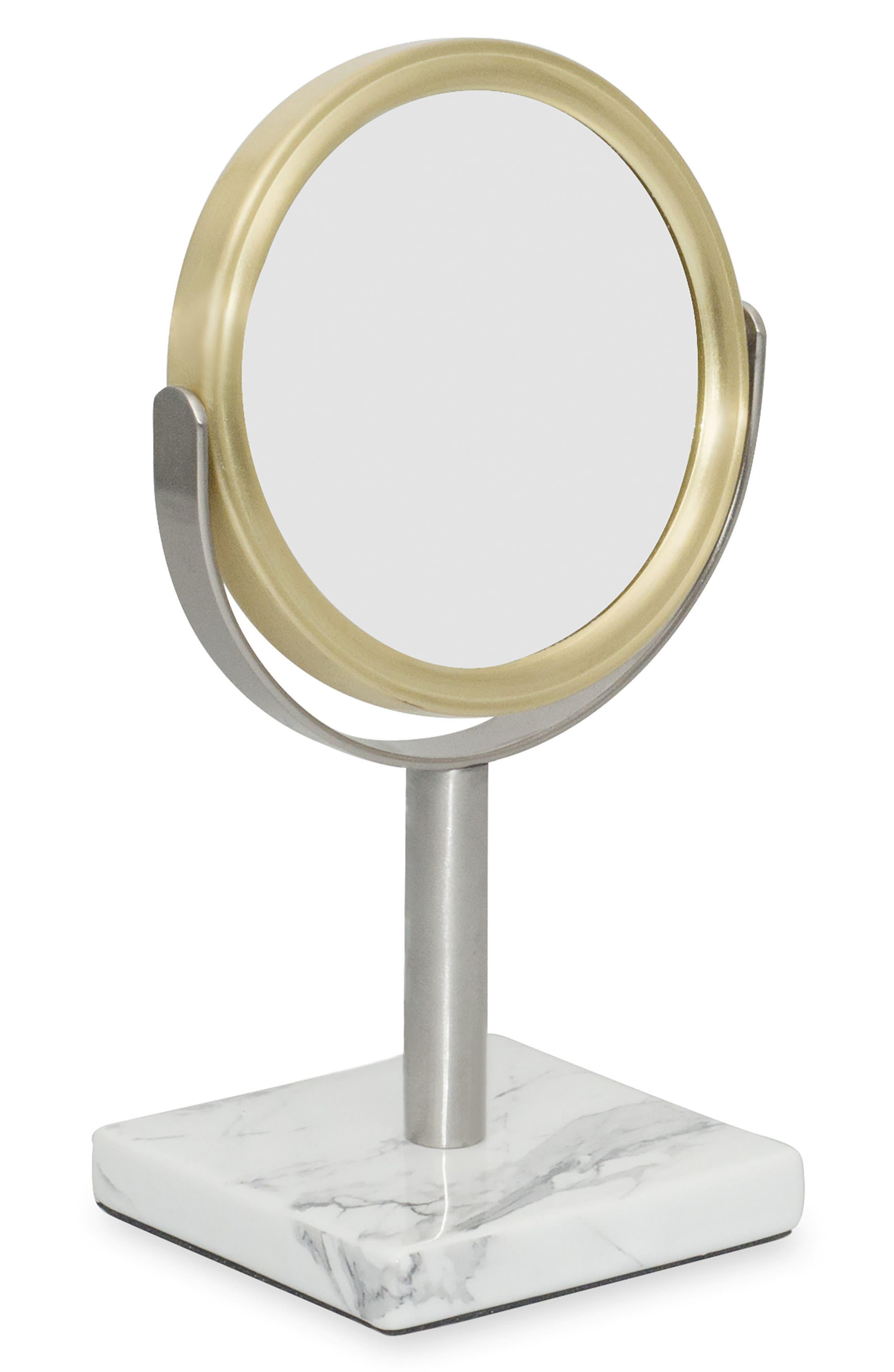 DKNY Mixed Media Mini Mirror, Main, color, WHITE