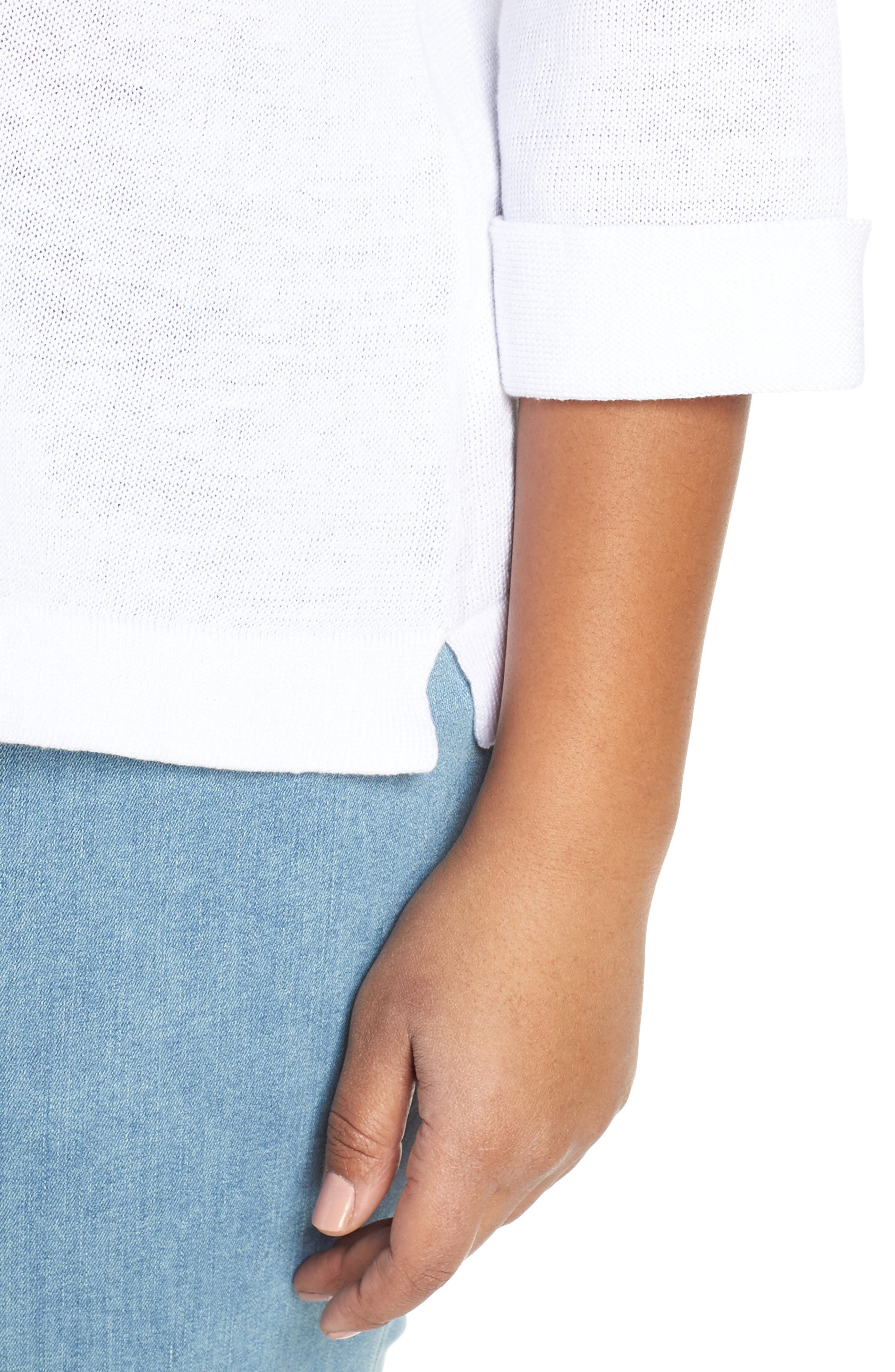EILEEN FISHER, Round Neck Top, Alternate thumbnail 4, color, WHITE