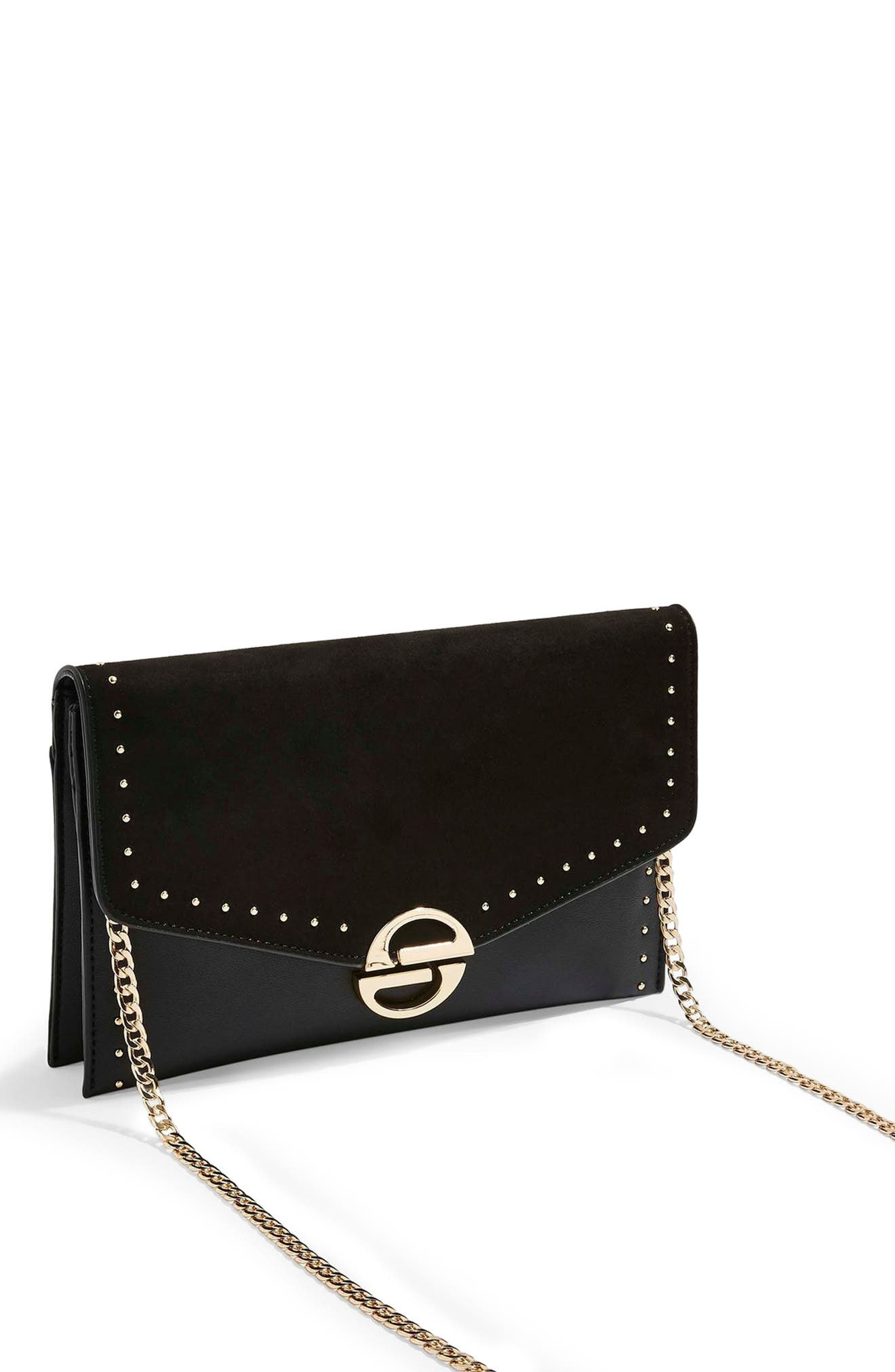 TOPSHOP, Candice Studded Faux Leather Clutch, Main thumbnail 1, color, BLACK