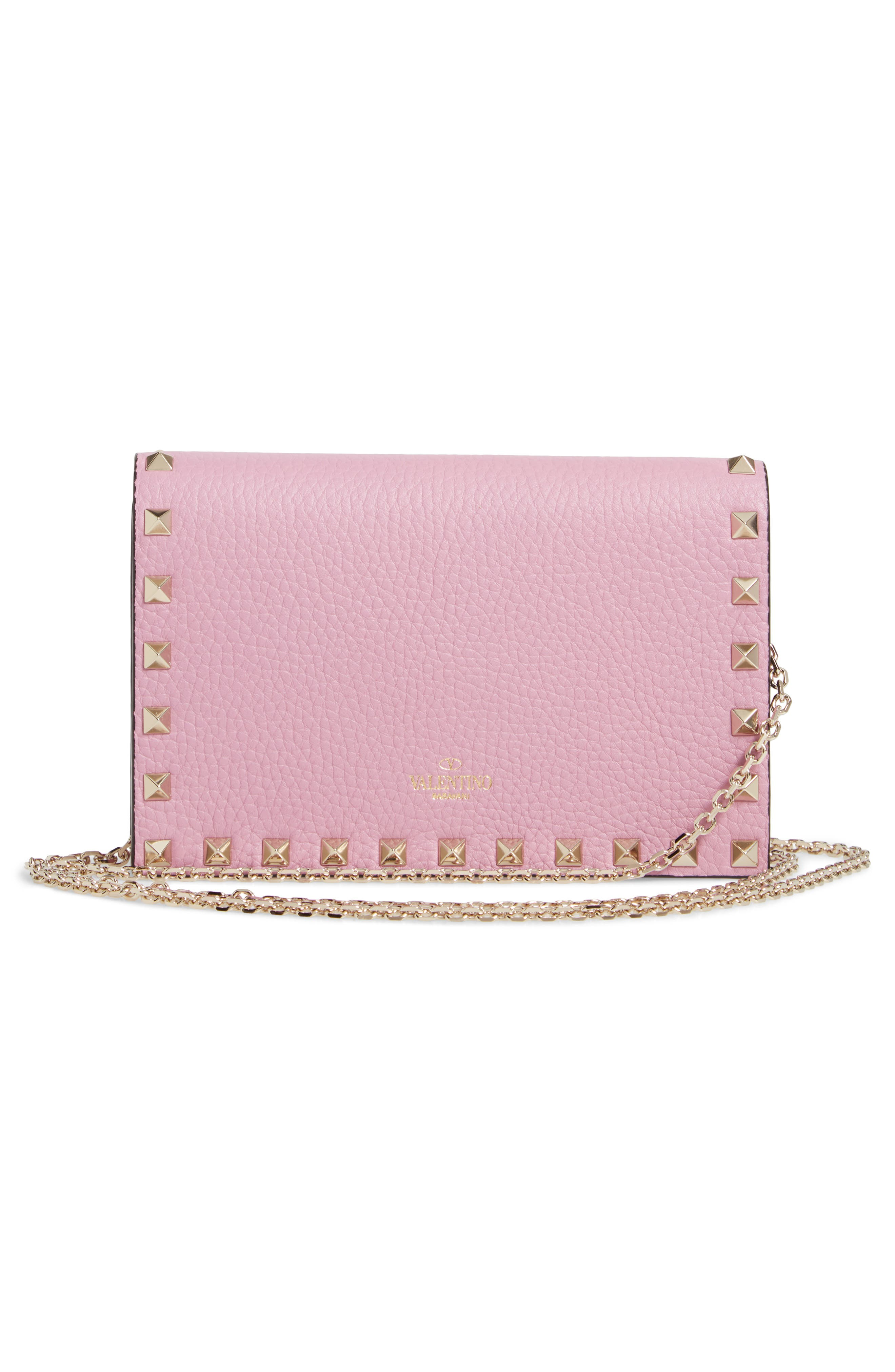 VALENTINO GARAVANI, Rockstud Calfskin Leather Envelope Pouch, Alternate thumbnail 3, color, GIACINTO