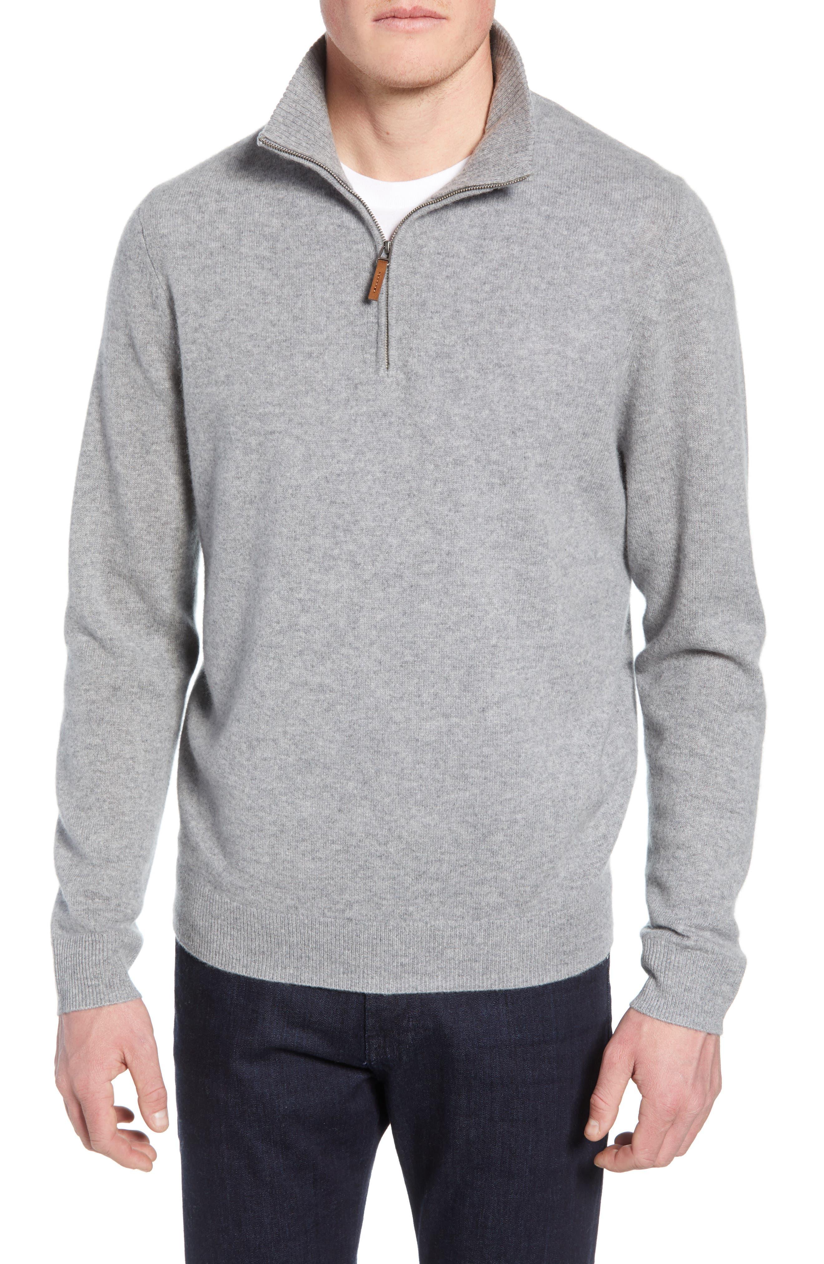 NORDSTROM MEN'S SHOP, Regular Fit Cashmere Quarter Zip Pullover, Main thumbnail 1, color, GREY DRIFTWOOD