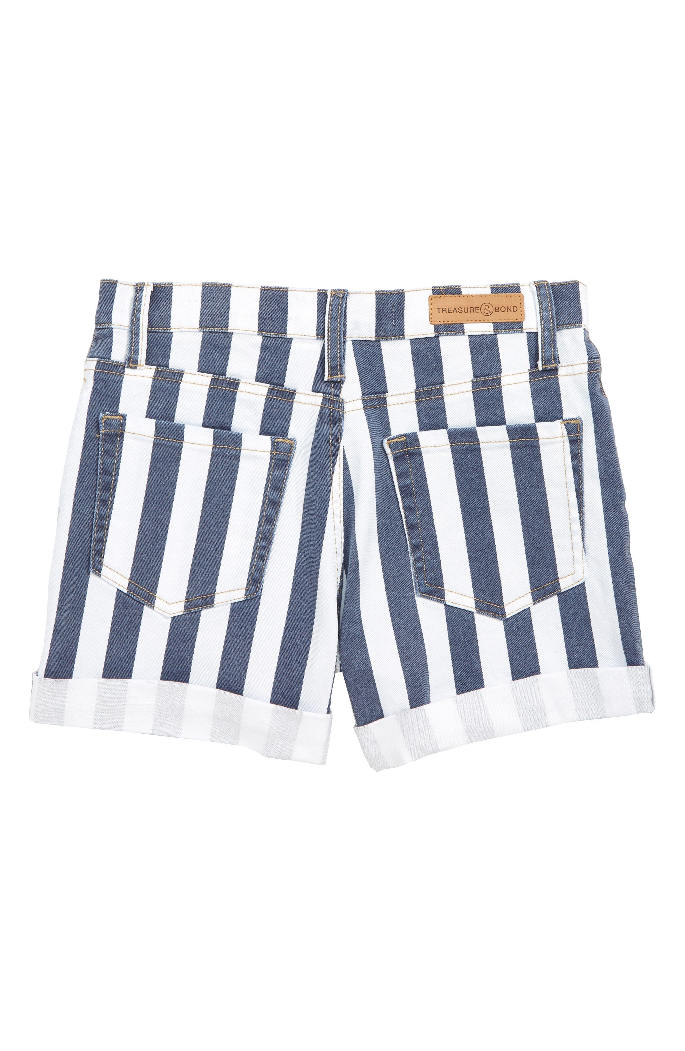 TREASURE & BOND, Stripe High Waist Vintage Denim Shorts, Alternate thumbnail 2, color, BAND WASH