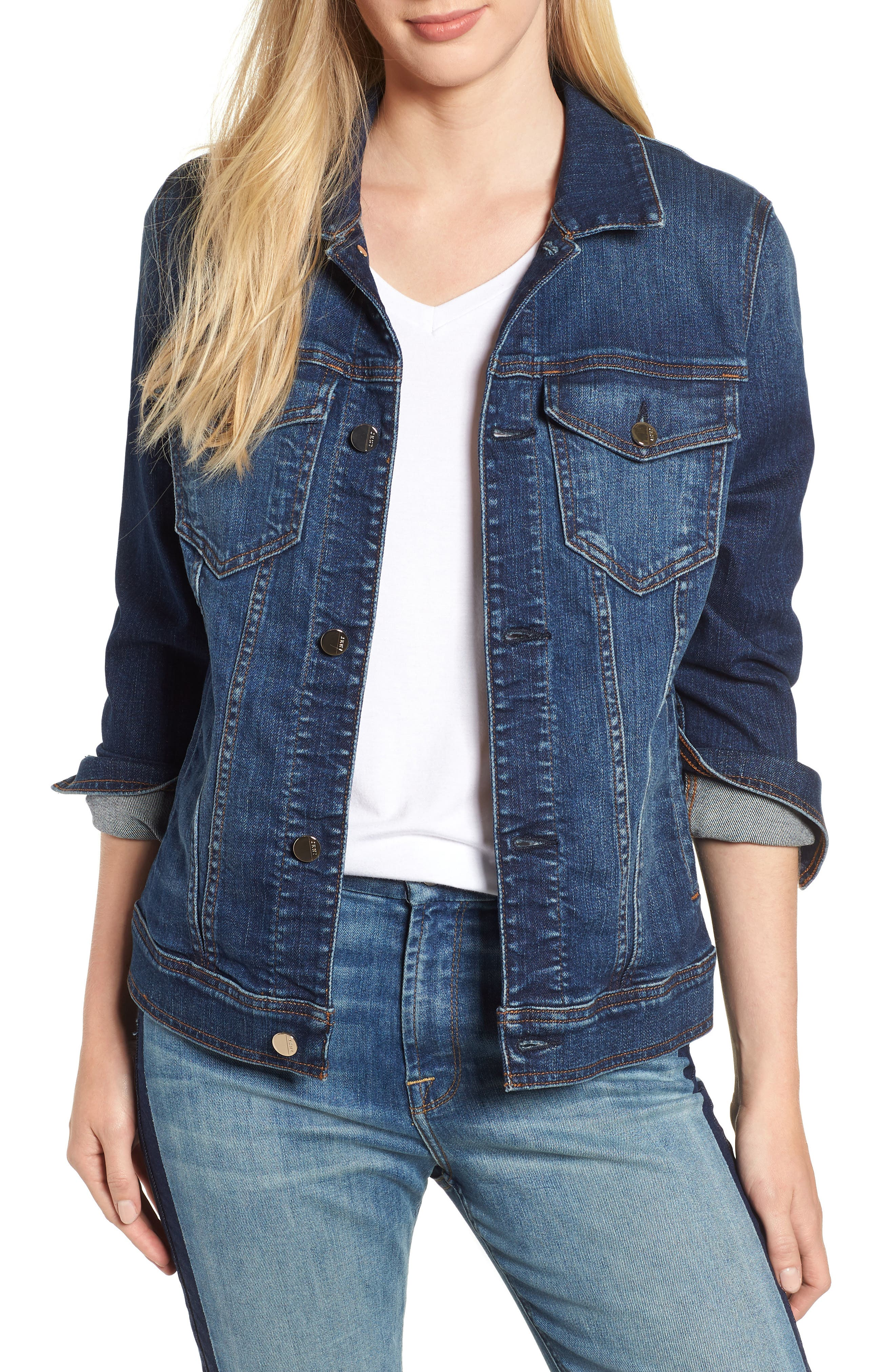 JEN7 BY 7 FOR ALL MANKIND, Classic Denim Jacket, Main thumbnail 1, color, 403