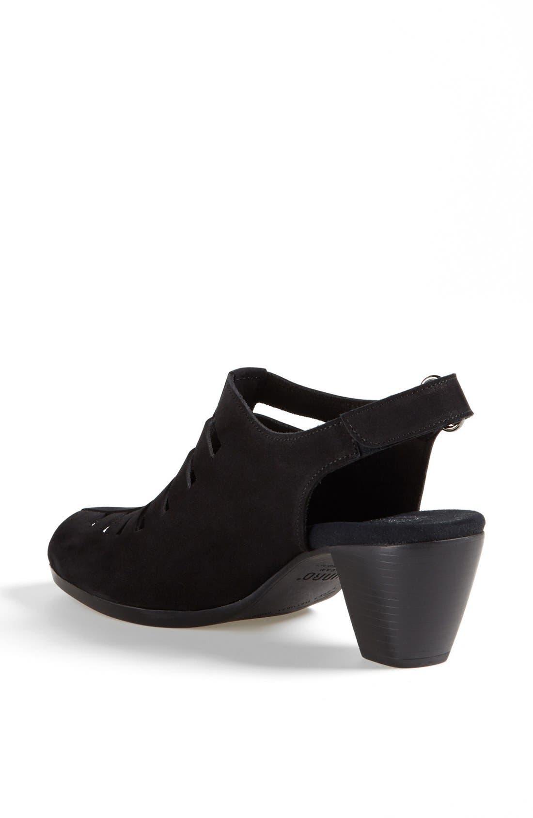 MUNRO, 'Abby' Slingback Sandal, Alternate thumbnail 2, color, BLACK NUBUCK LEATHER
