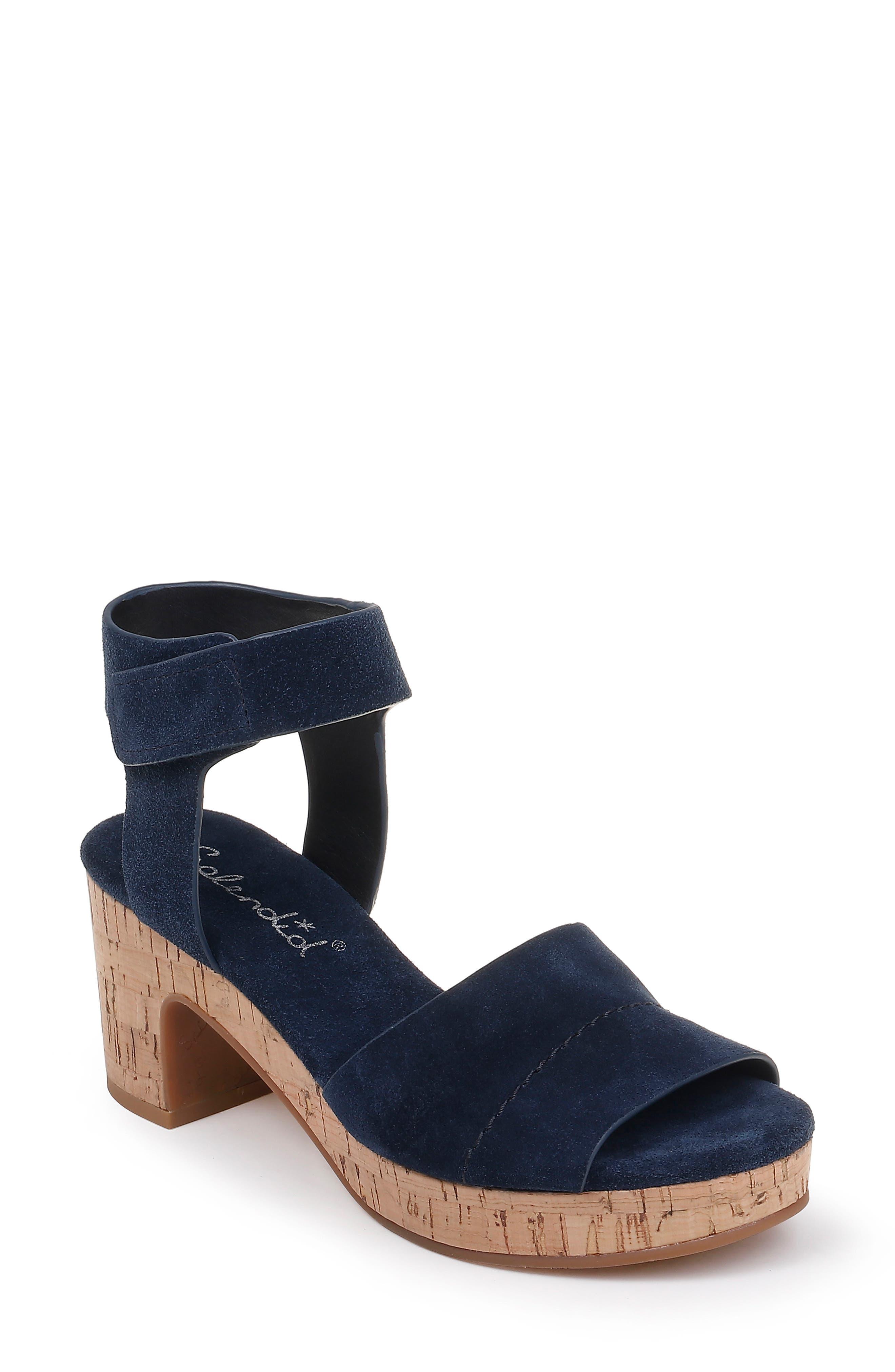 SPLENDID Thatcher Platform Ankle Strap Sandal, Main, color, NAVY SUEDE