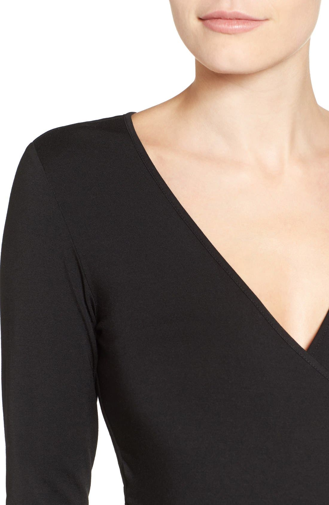 TART MATERNITY, Tart 'Peaches' Maternity Body-Con Dress, Alternate thumbnail 4, color, BLACK