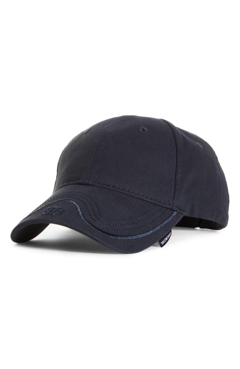 BALENCIAGA BB LOGO WAVE STITCH BASEBALL CAP - BLUE