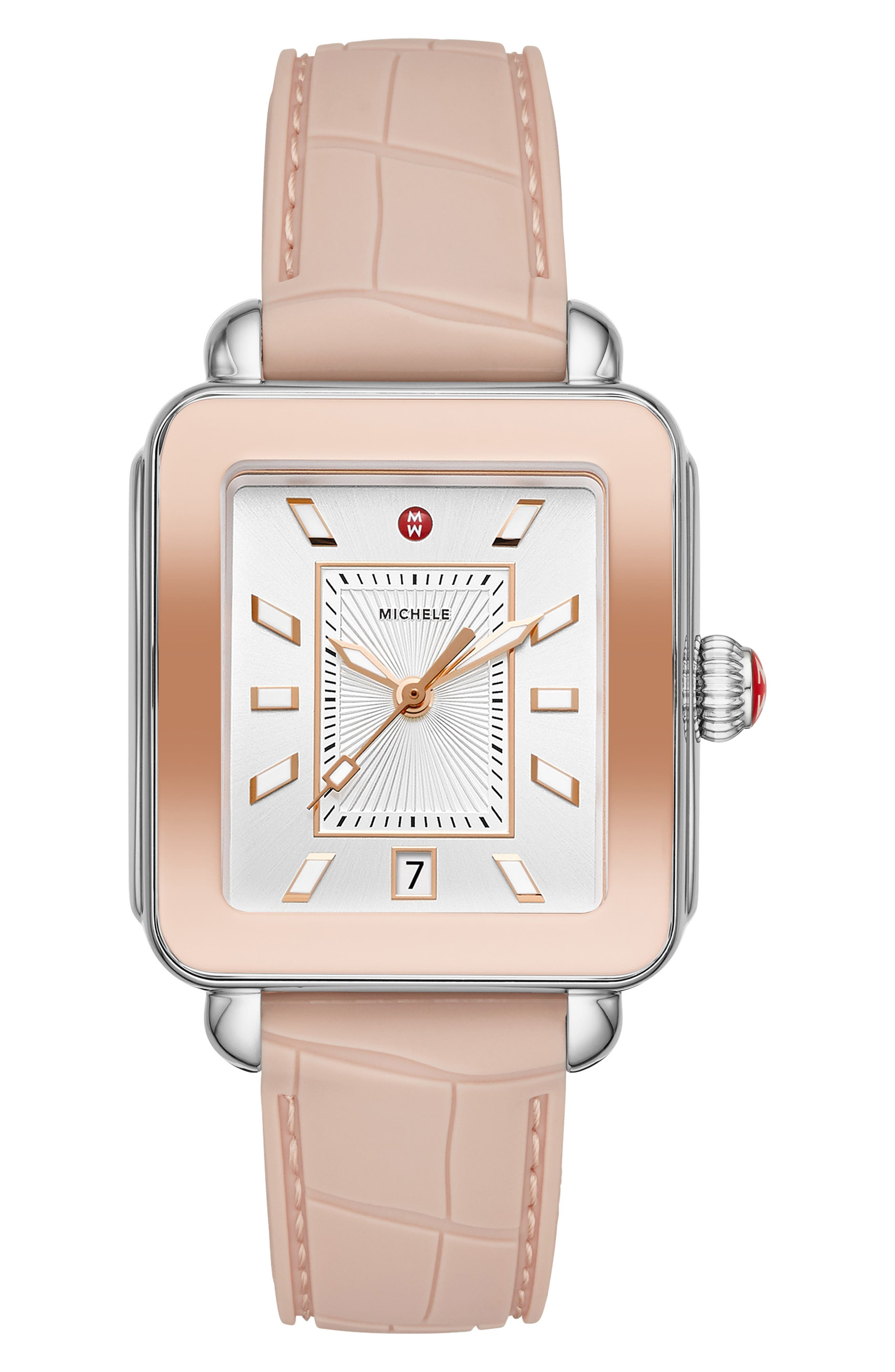 MICHELE Deco Sport Watch Head & Silicone Strap Watch, 34mm x 36mm, Main, color, PINK/ SILVER SUNRAY/ PINK GOLD