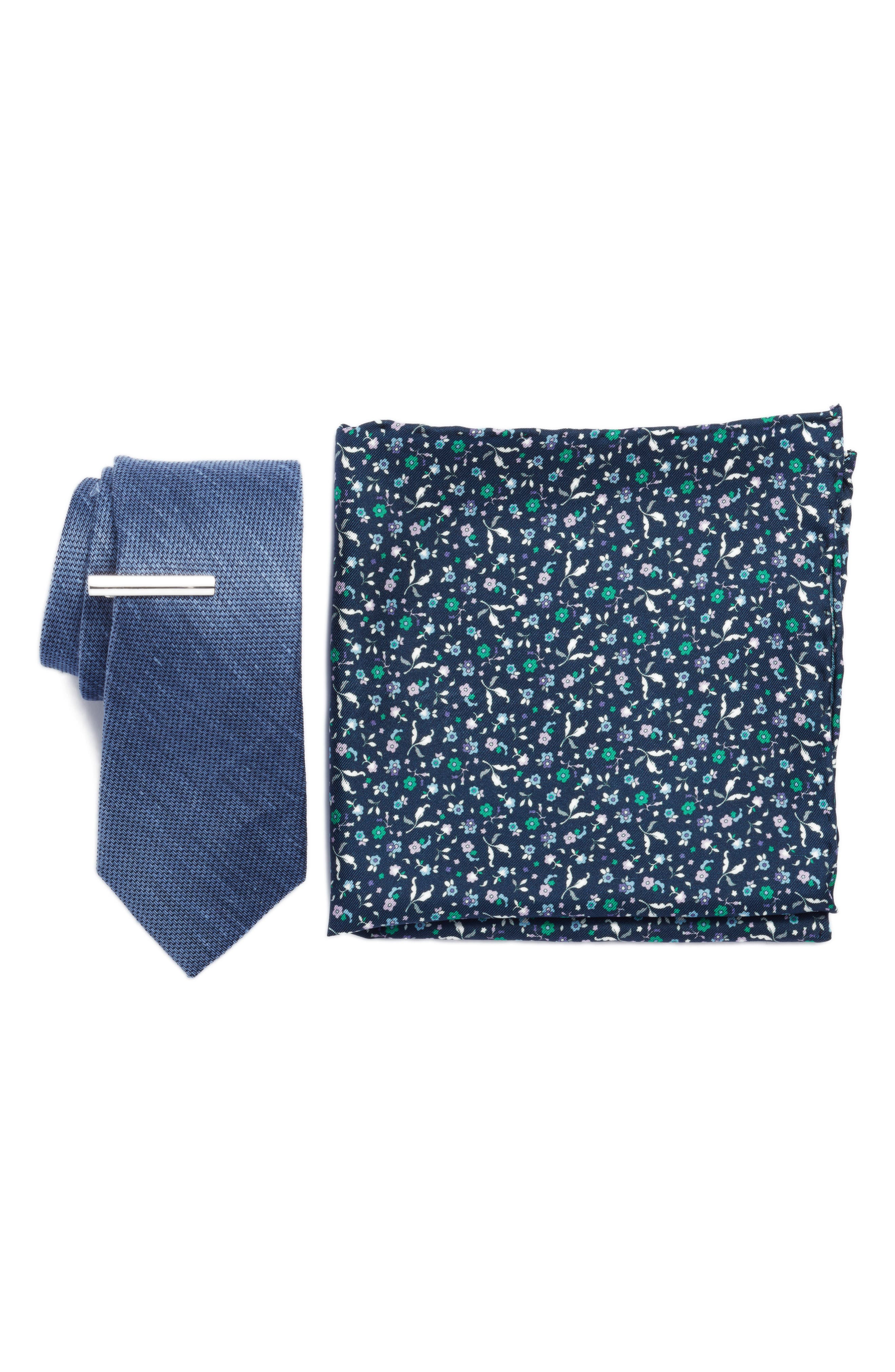 THE TIE BAR, Texture Solid 3-Piece Skinny Tie Style Box, Main thumbnail 1, color, LIGHT BLUE