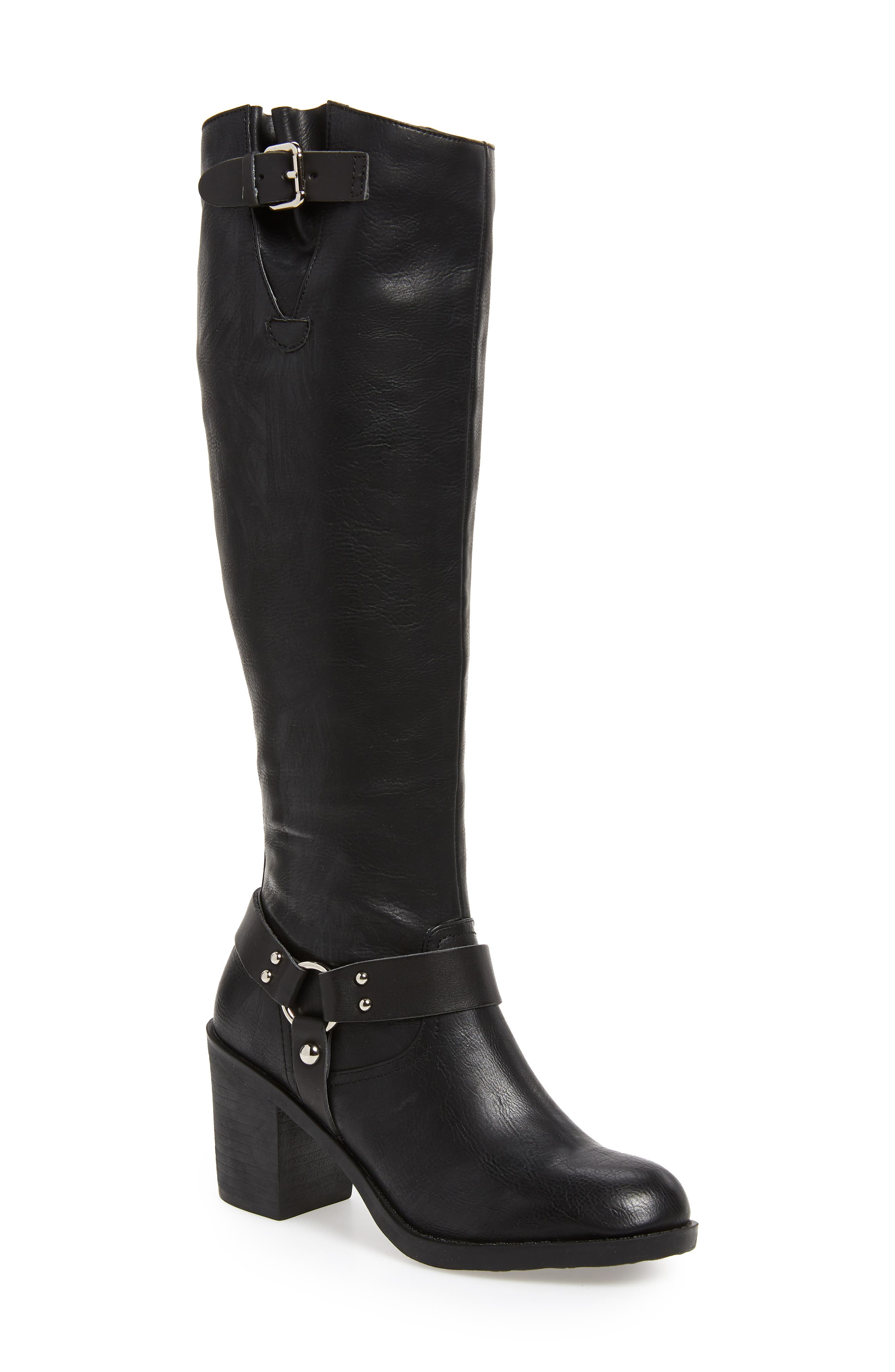 SBICCA, Dimarco Knee High Boot, Main thumbnail 1, color, BLACK FAUX LEATHER