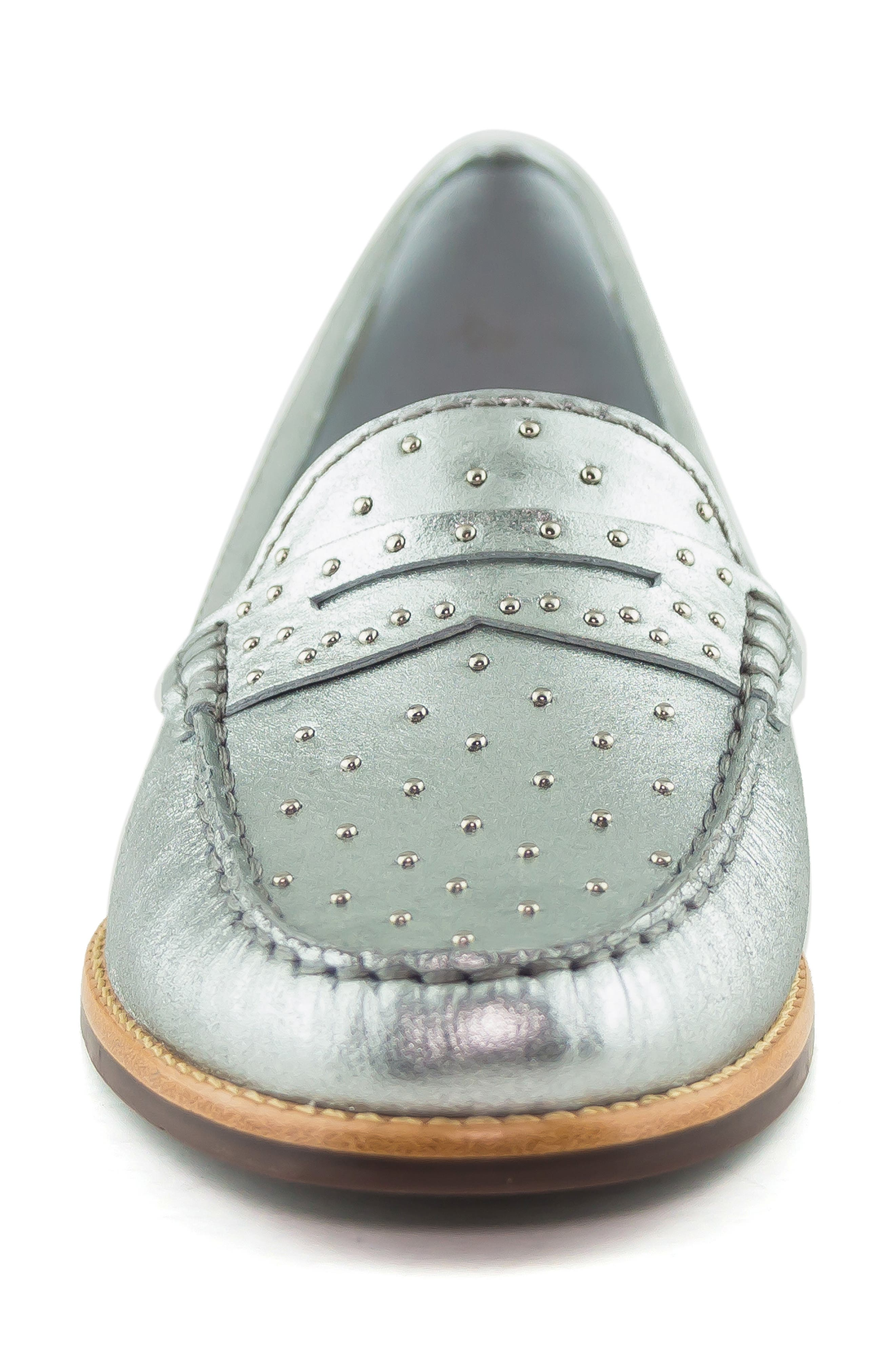MARC JOSEPH NEW YORK, East Village III Studded Loafer, Alternate thumbnail 4, color, SILVER LEATHER