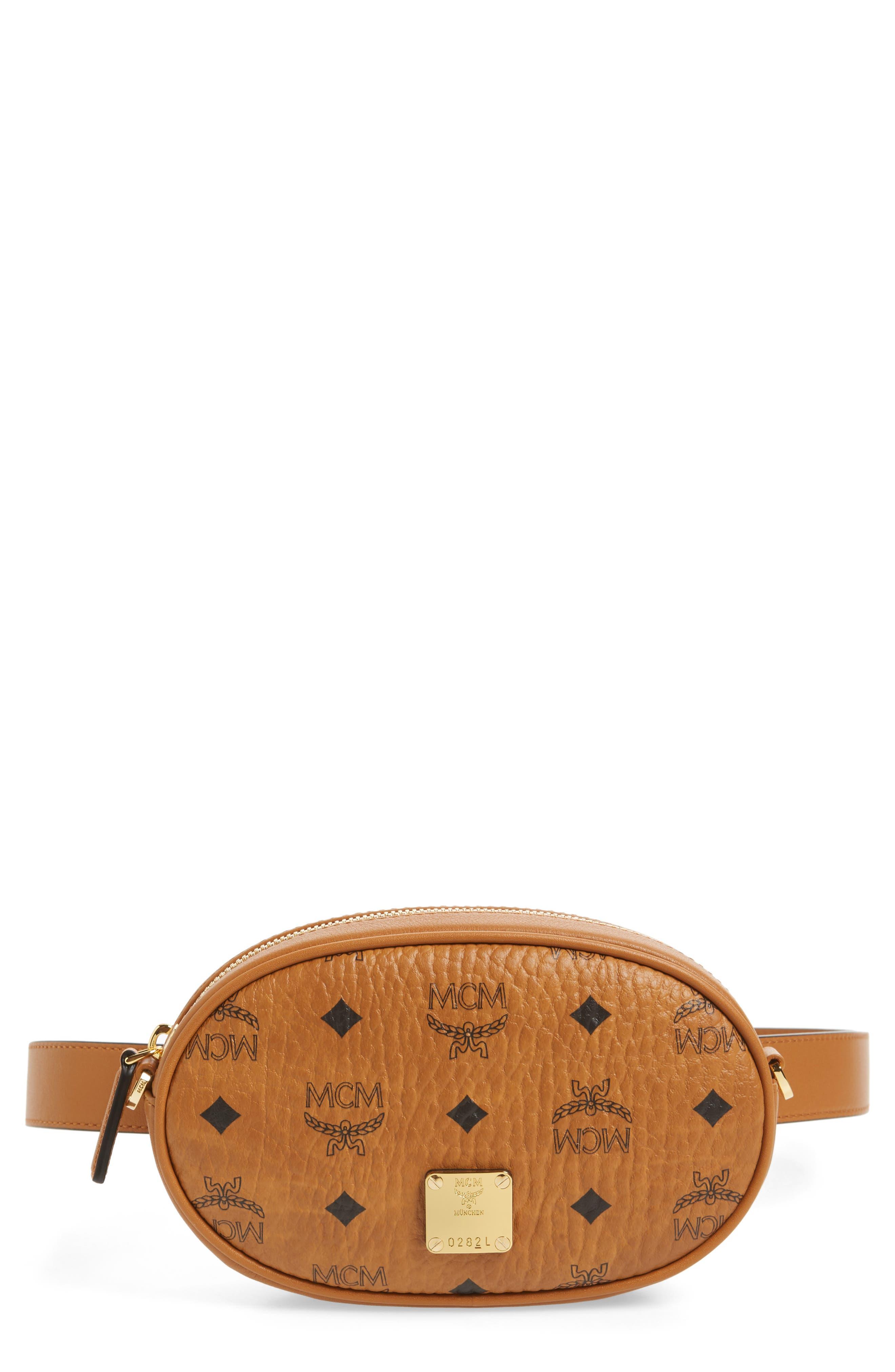 MCM Essential Convertible Belt Bag, Main, color, COGNAC