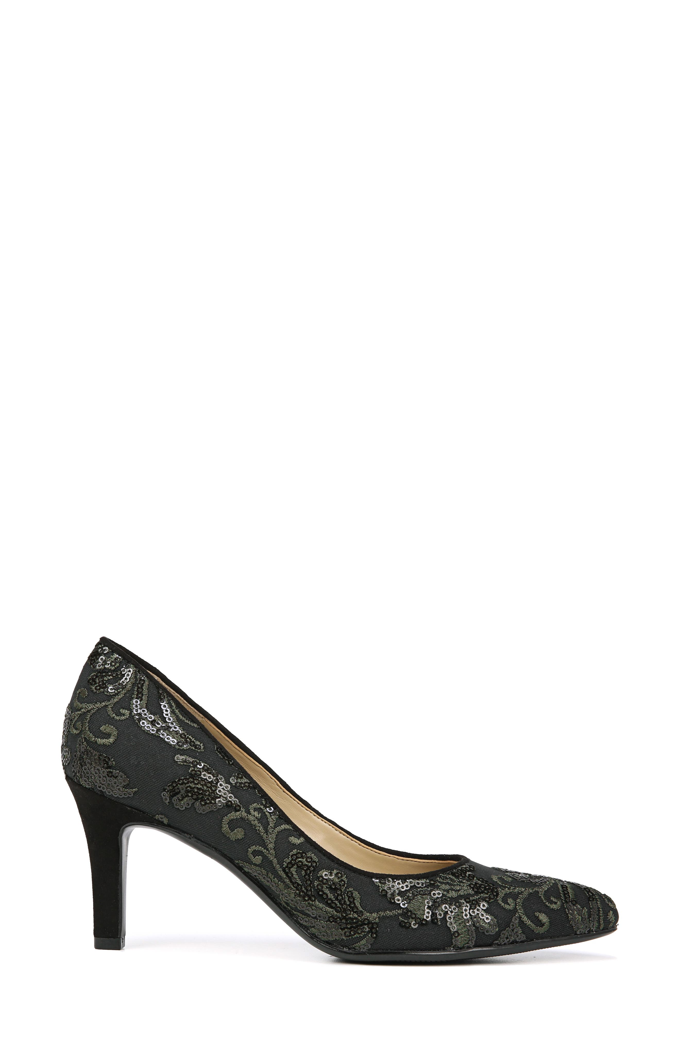 NATURALIZER, Natalie Pointy Toe Pump, Alternate thumbnail 3, color, FERN GREEN EMBROIDERED