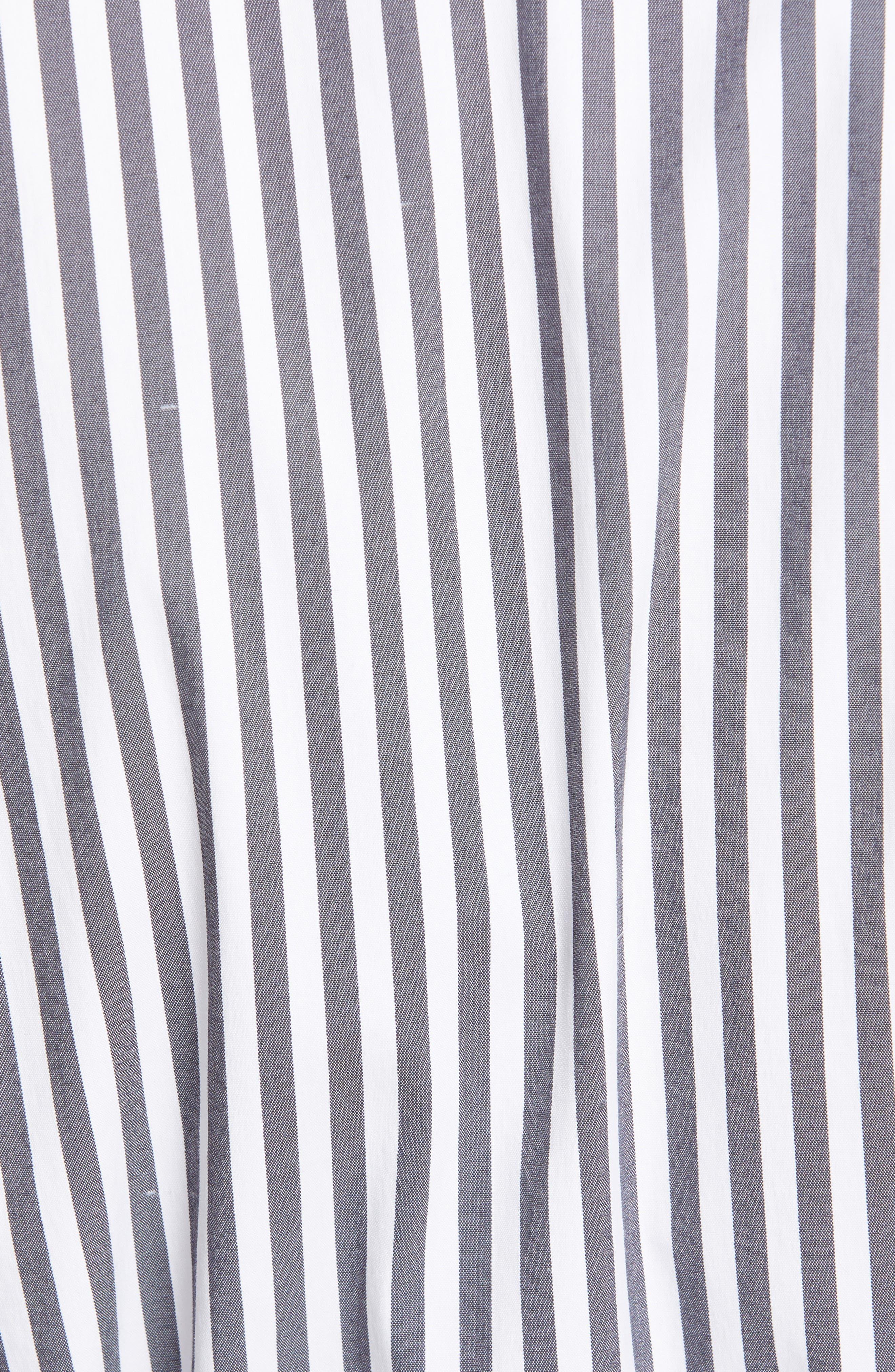 LAFAYETTE 148 NEW YORK, Rexana Stripe Long Sleeve Belted Shirtdress, Alternate thumbnail 6, color, ASH MULTI