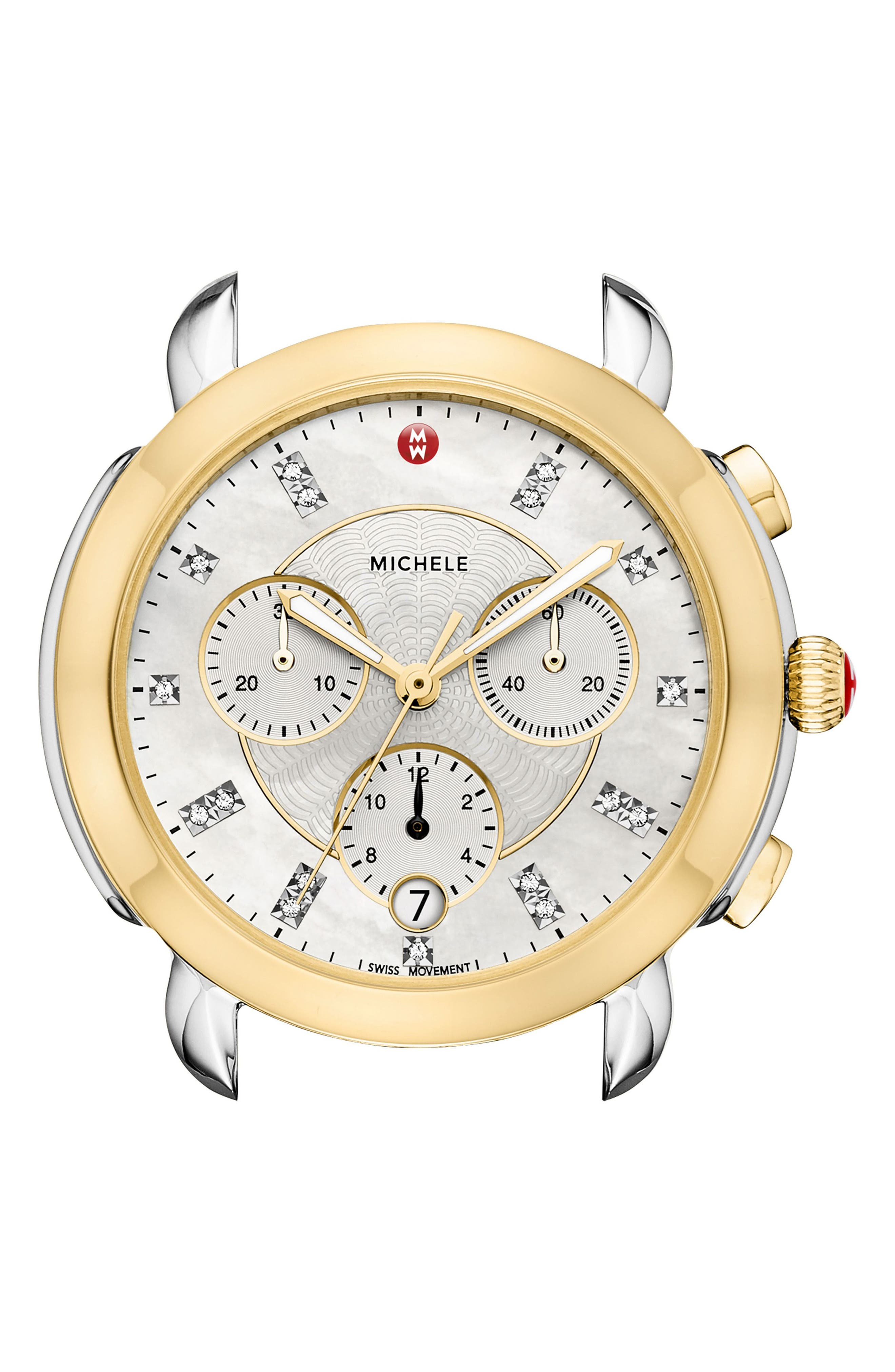MICHELE, Sidney Chronograph Diamond Watch Head, 38mm, Alternate thumbnail 2, color, GOLD/ MOP/ SILVER