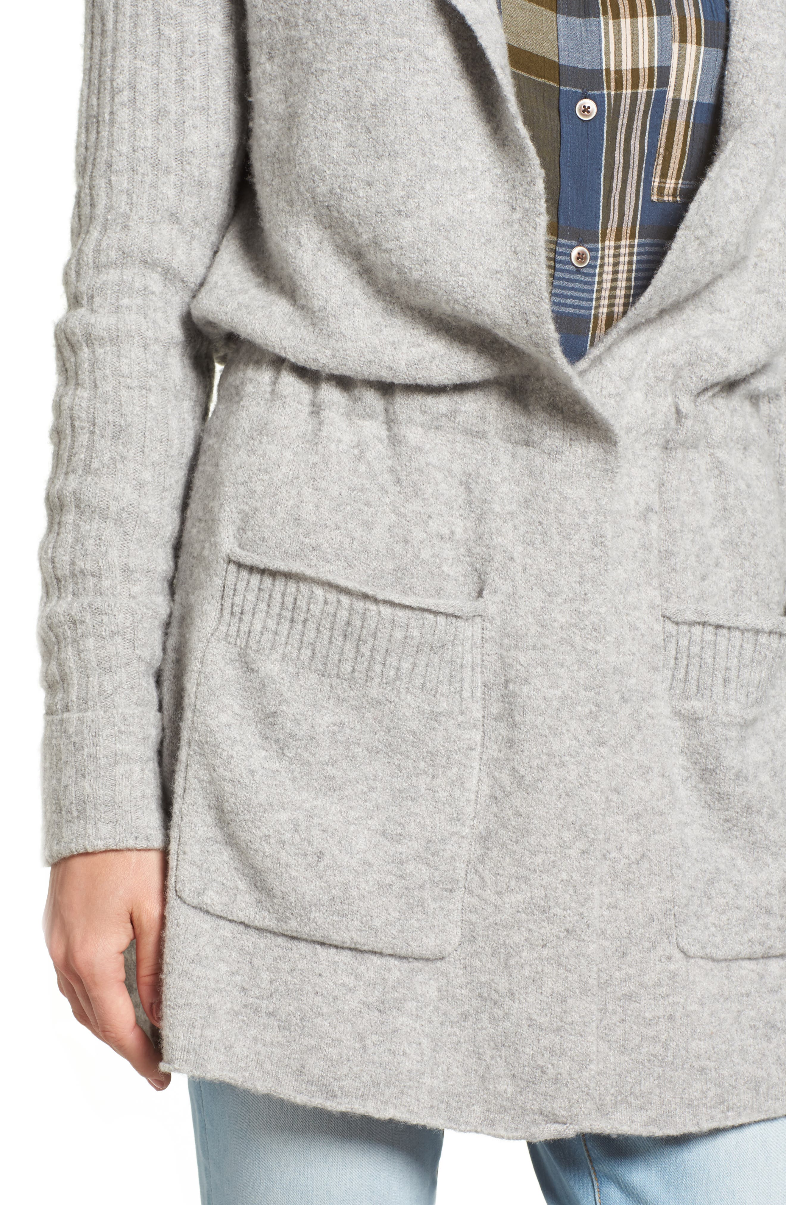 CASLON<SUP>®</SUP>, Hooded Cardigan, Alternate thumbnail 4, color, HEATHER GREY