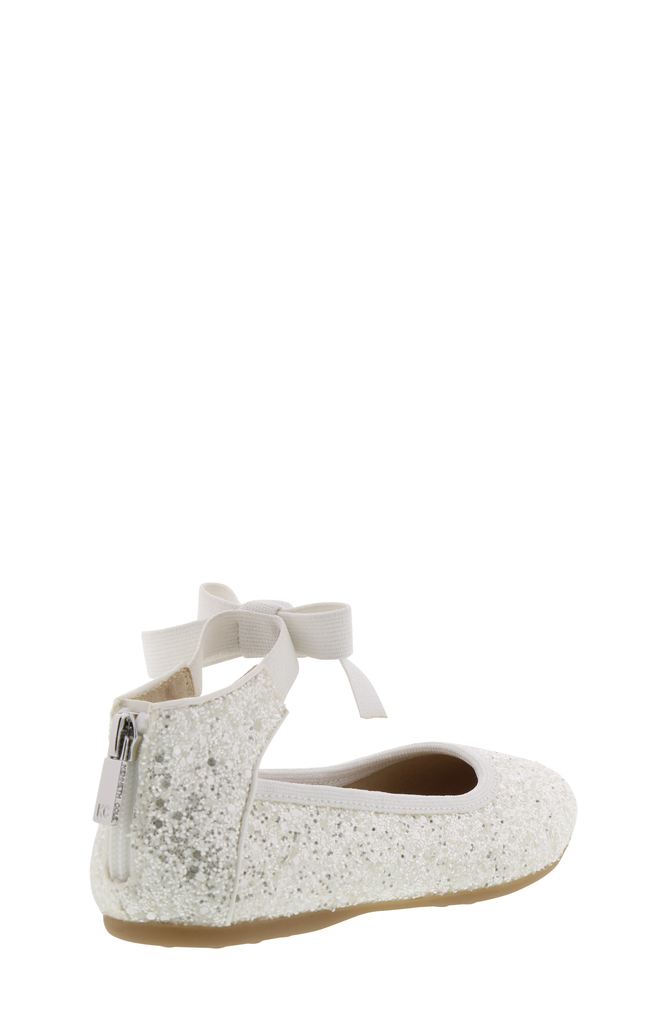 KENNETH COLE NEW YORK, Rose Bow Ballet Flat, Alternate thumbnail 2, color, WHITE SUGAR GLITTER