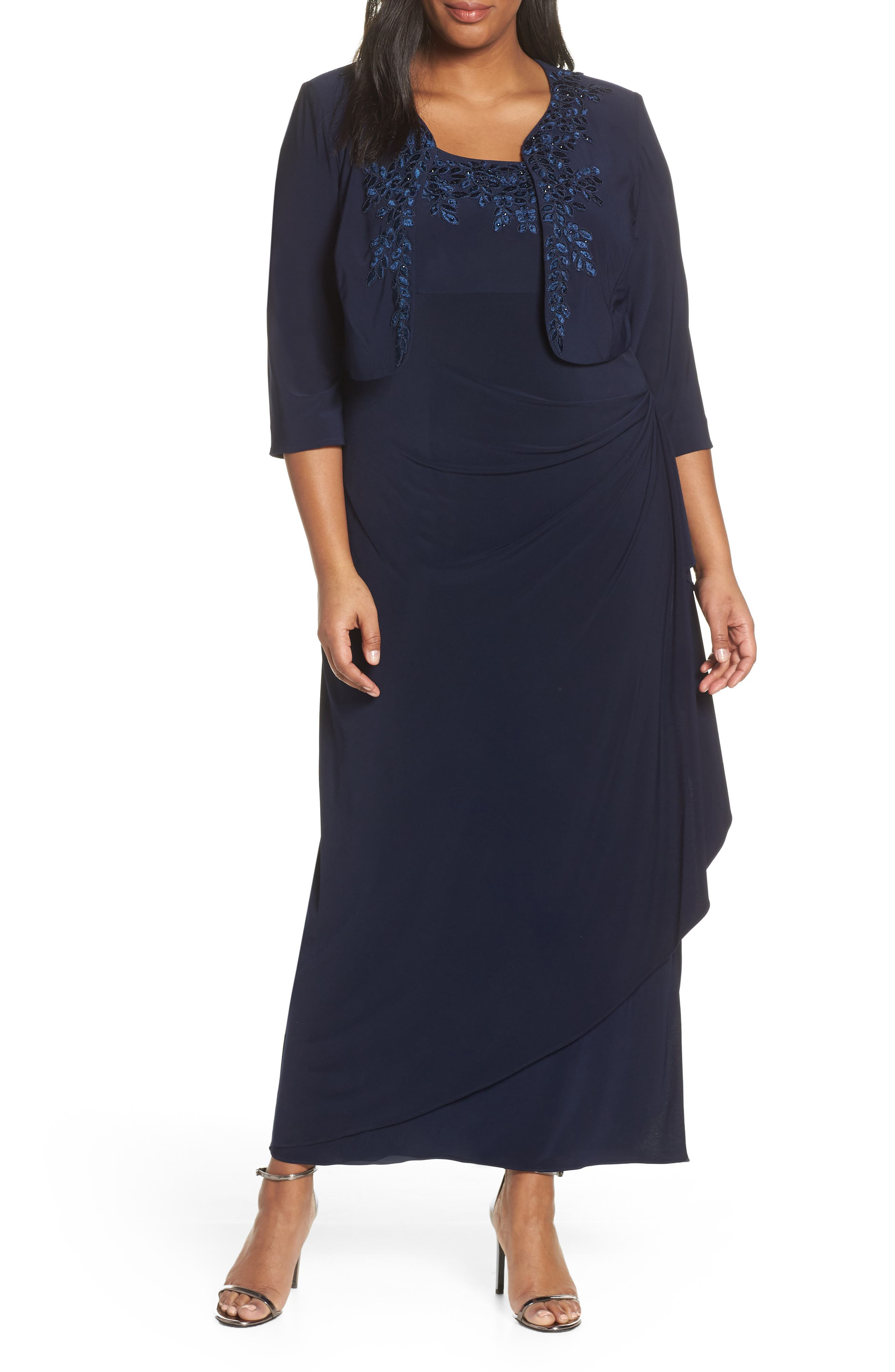 Plus Size Alex Evenings Side Ruched Evening Dress With Bolero, Blue