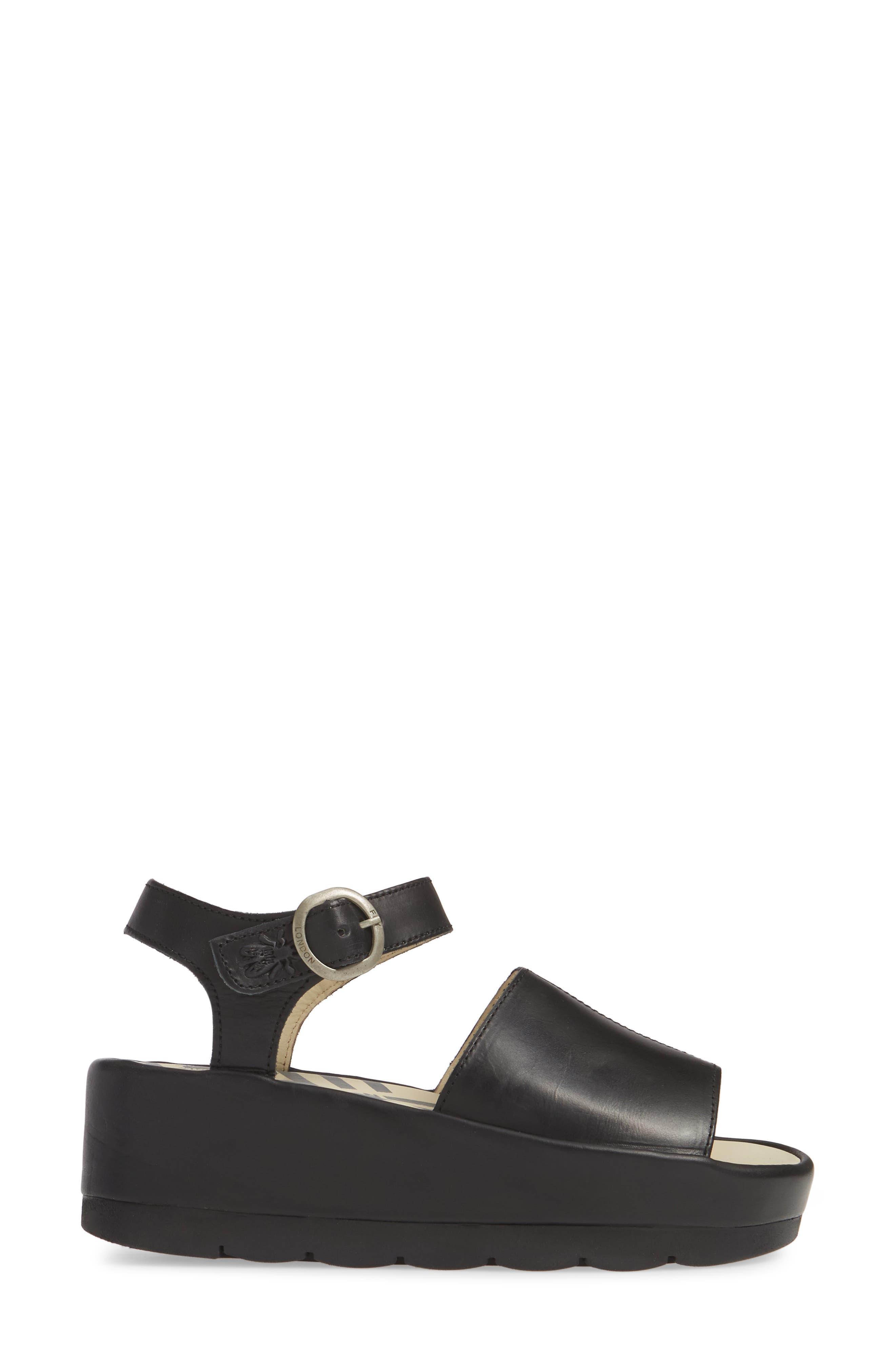 FLY LONDON, Bano Platform Sandal, Alternate thumbnail 3, color, BLACK LEATHER