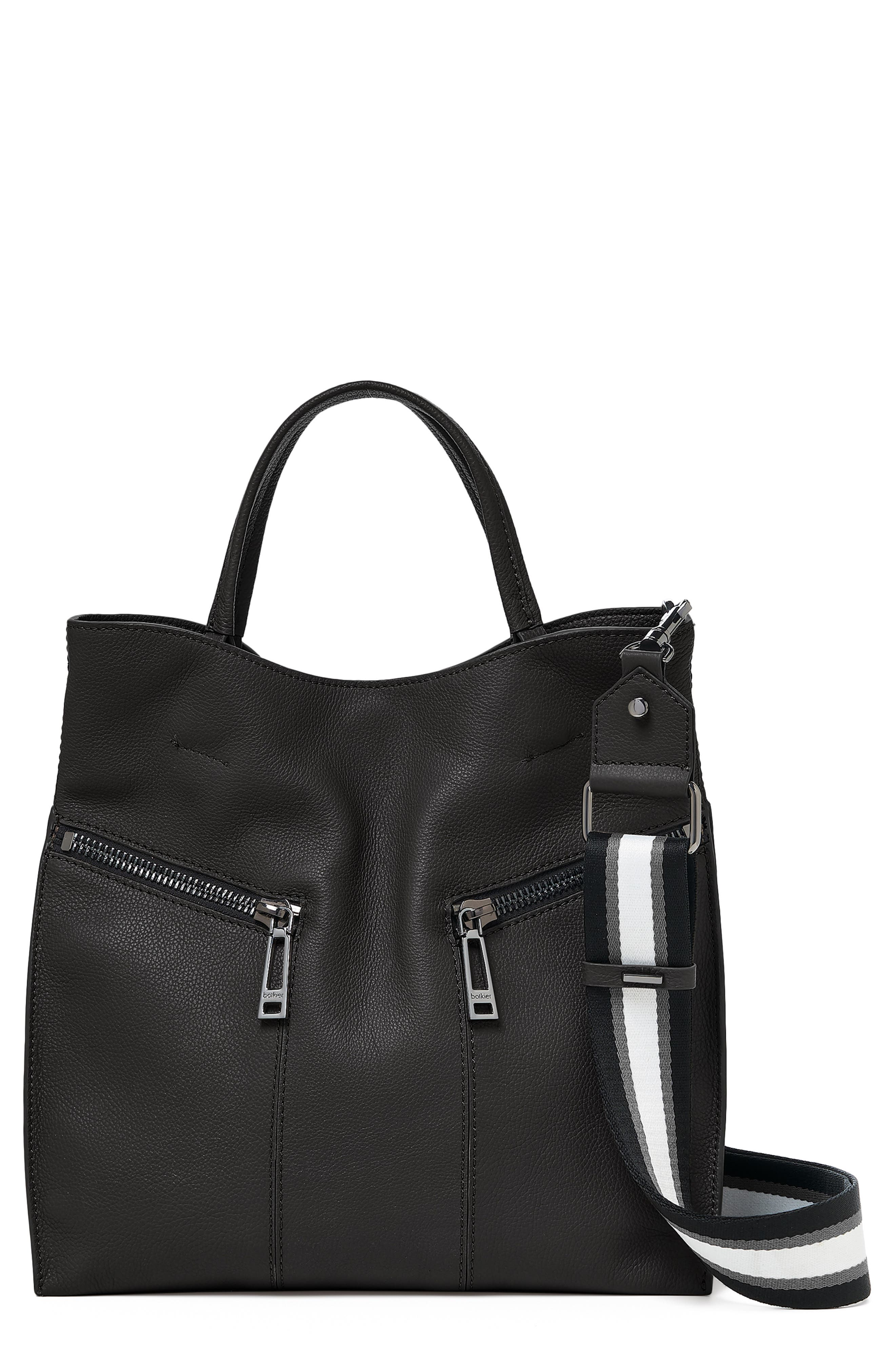 BOTKIER, Trigger Pebbled Leather Satchel, Main thumbnail 1, color, BLACK