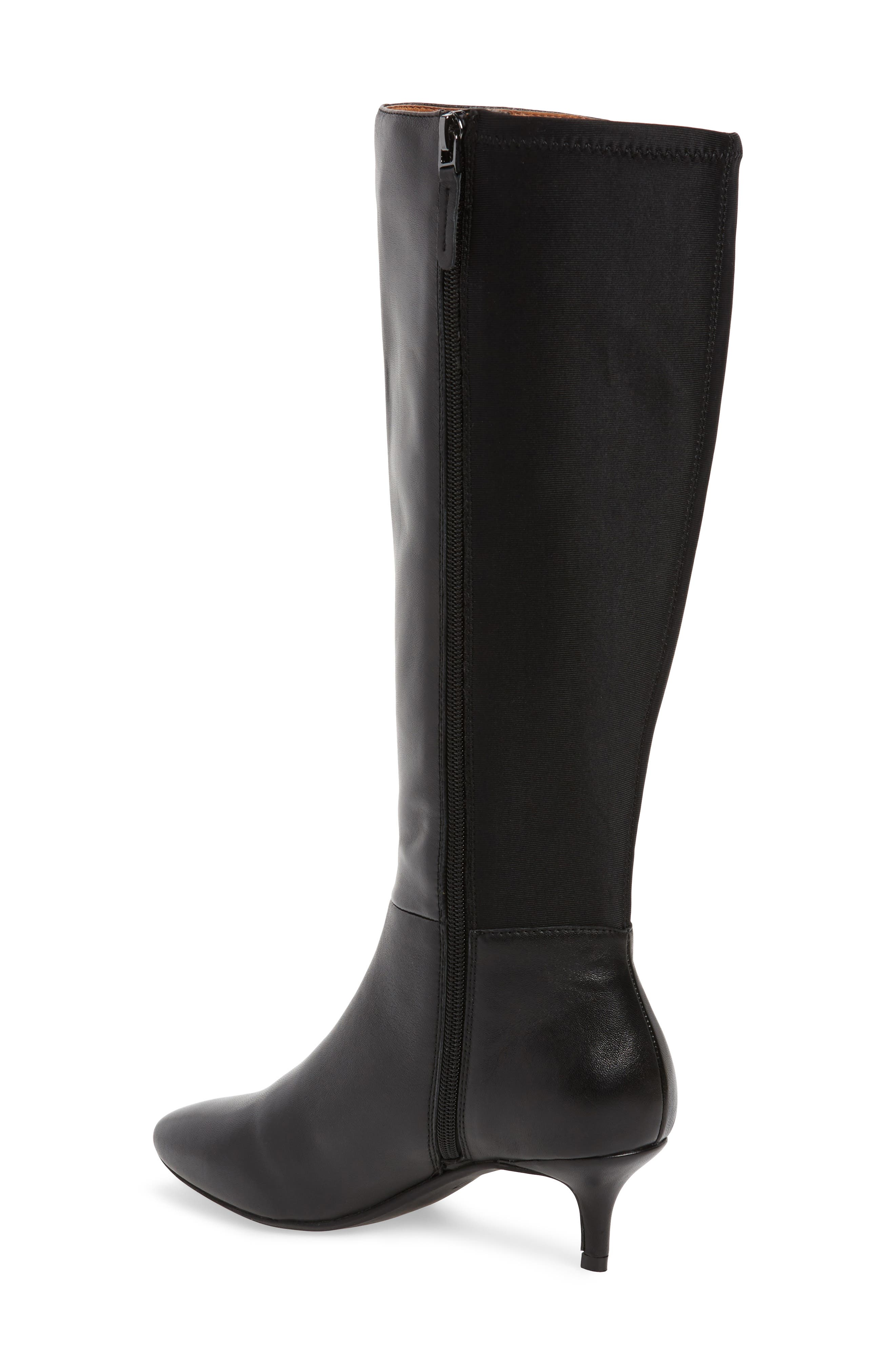 SUDINI, Beverly Stretch Back Knee High Boot, Alternate thumbnail 2, color, BLACK