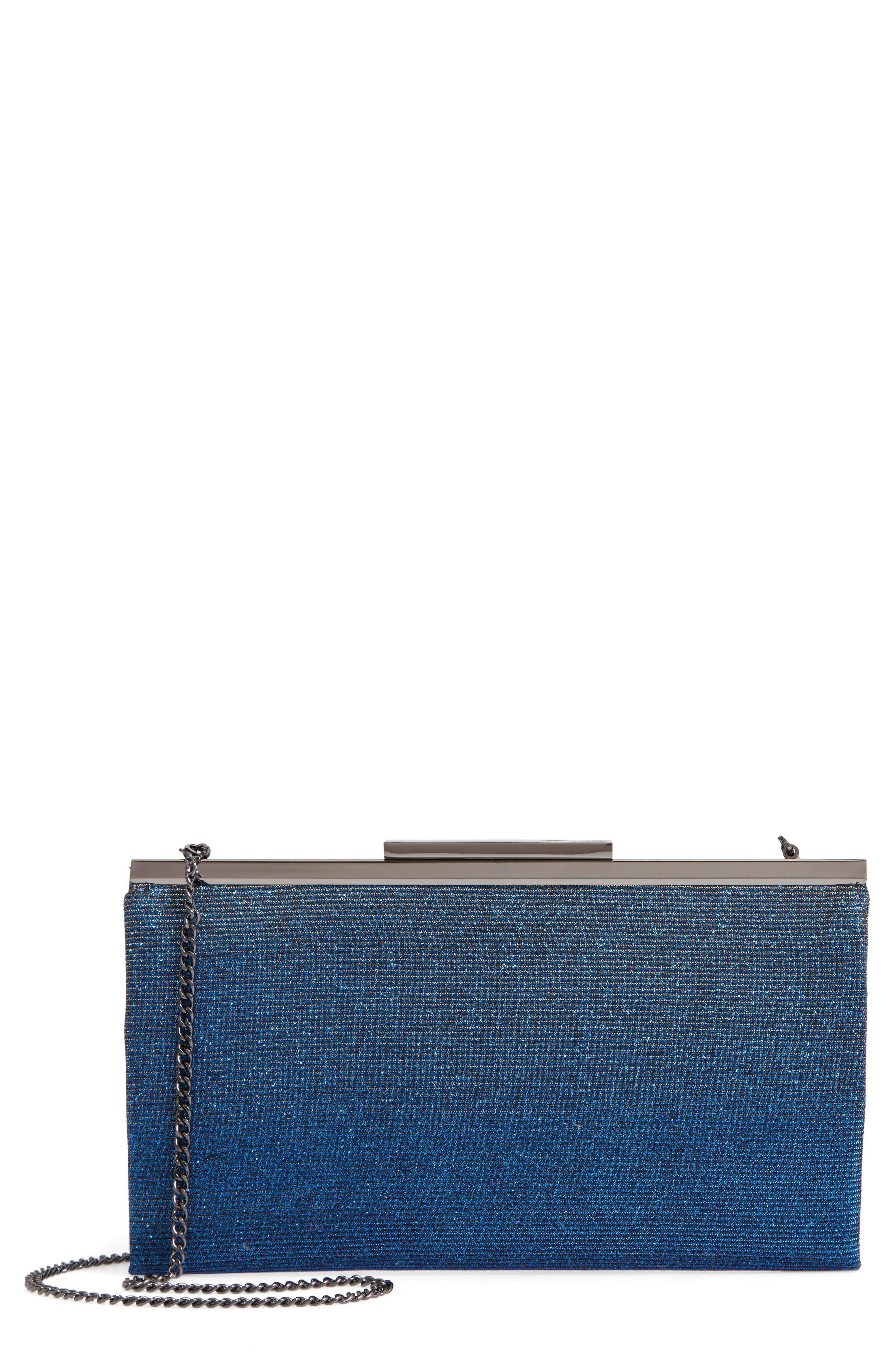 NORDSTROM, Glitter Clutch, Main thumbnail 1, color, BLUE
