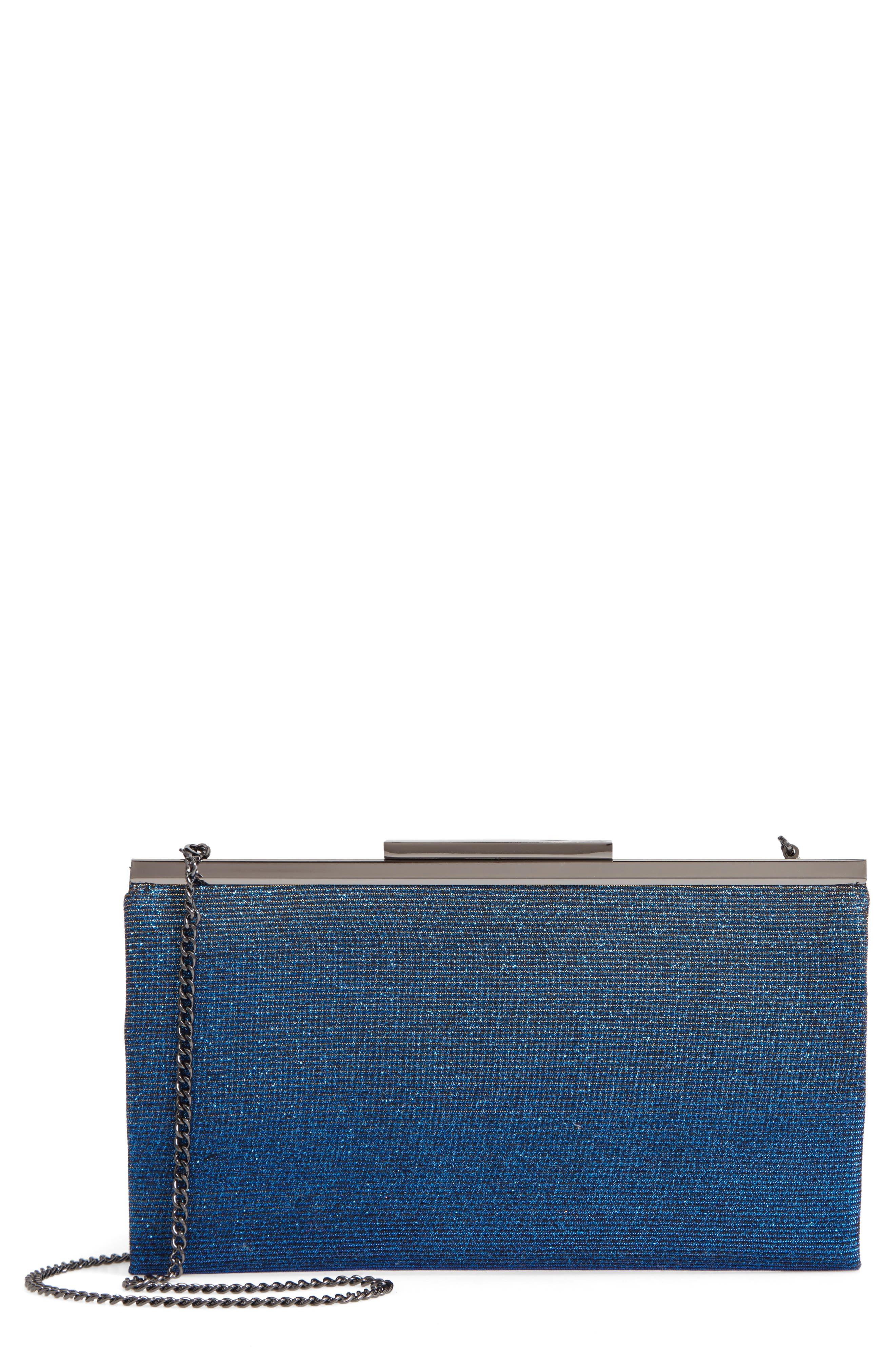 NORDSTROM Glitter Clutch, Main, color, BLUE