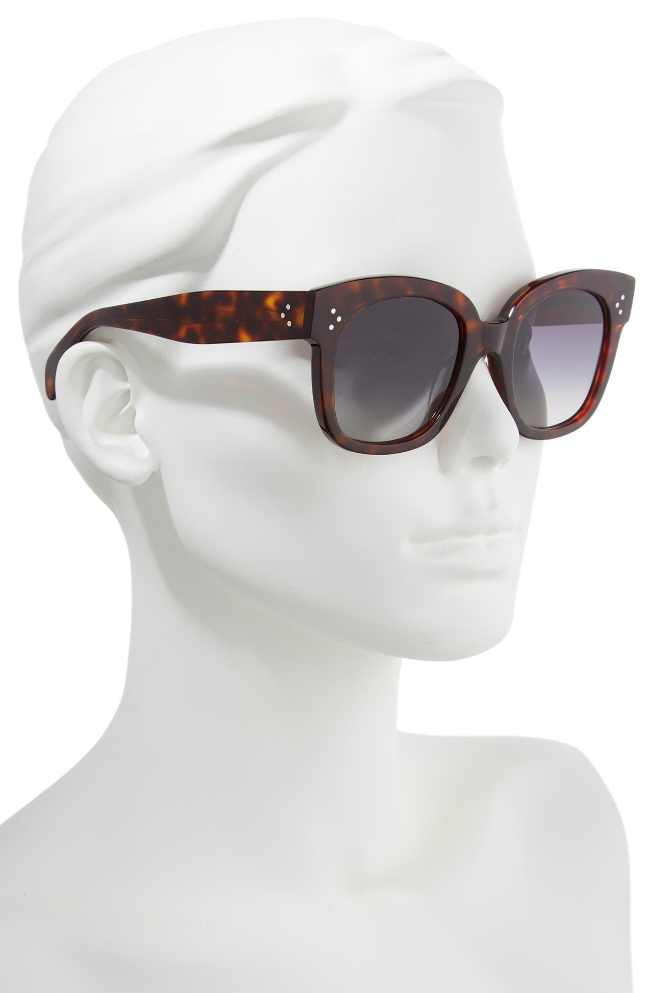 CELINE, 54mm Square Sunglasses, Alternate thumbnail 3, color, RED HAVAN/ SMOKE