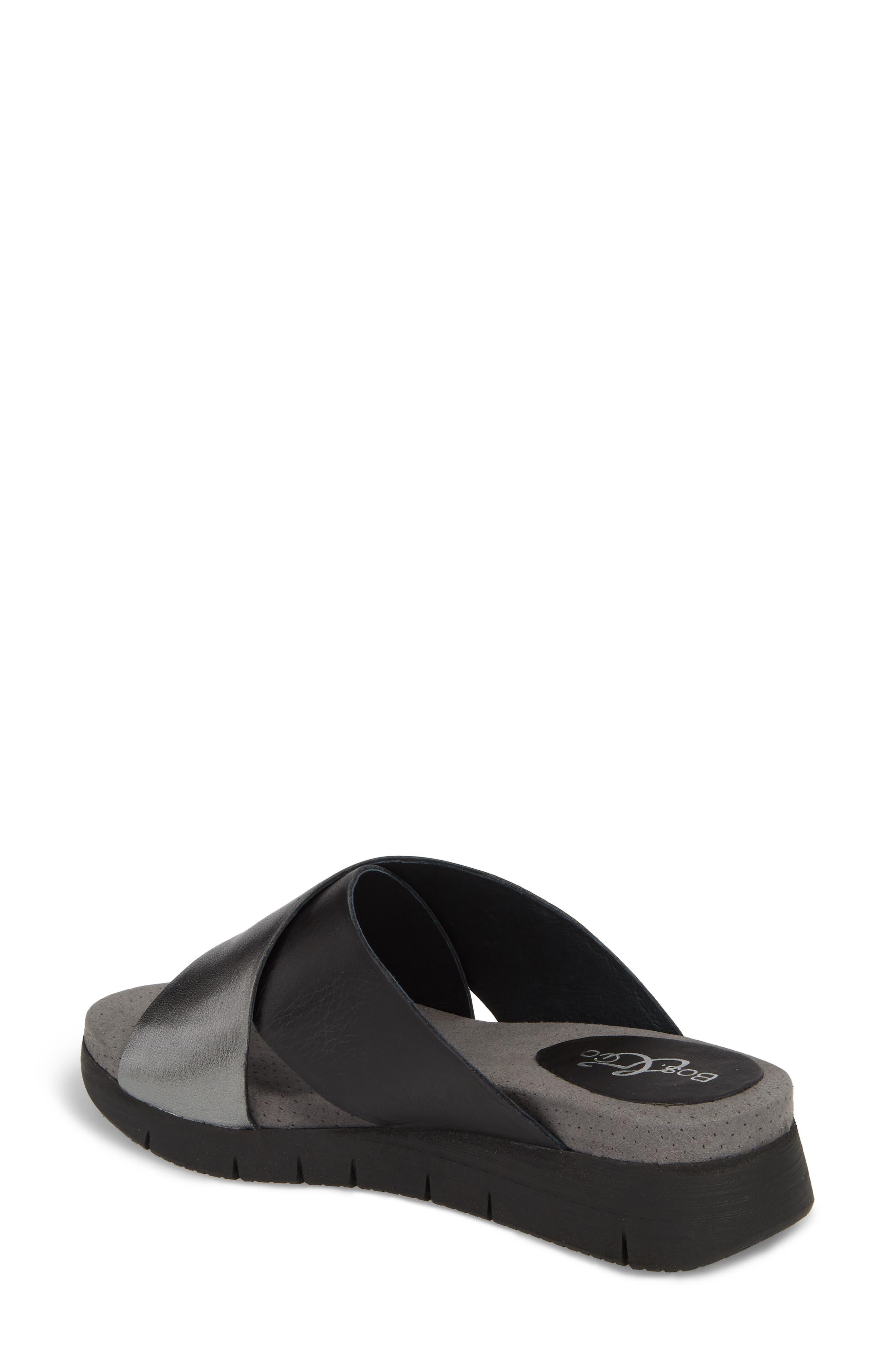 BOS. & CO., Piney Slide Sandal, Alternate thumbnail 2, color, BLACK/ PEWTER LEATHER