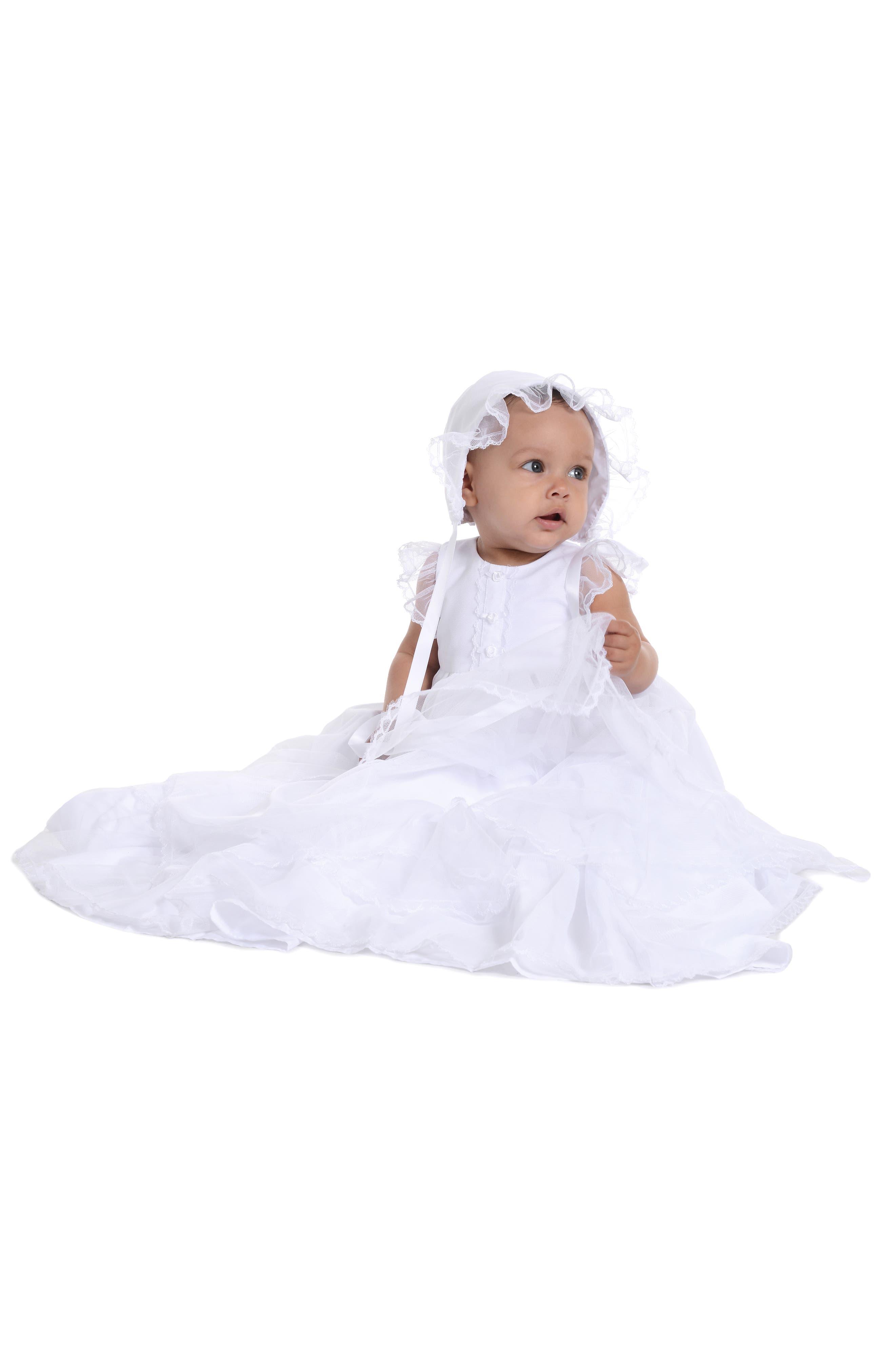 PIPPA & JULIE, Christening Gown & Bonnet, Alternate thumbnail 2, color, WHITE
