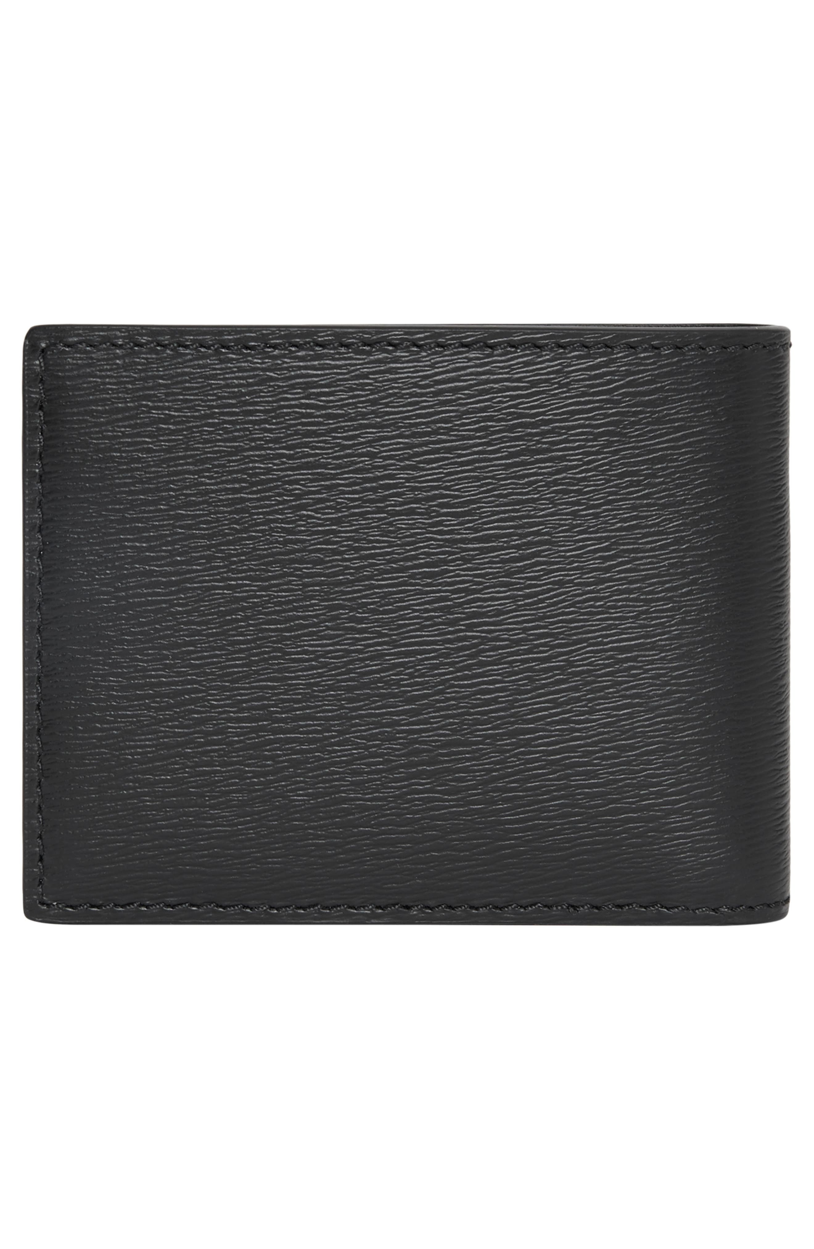 BURBERRY, Leather Bifold Wallet, Alternate thumbnail 3, color, 001