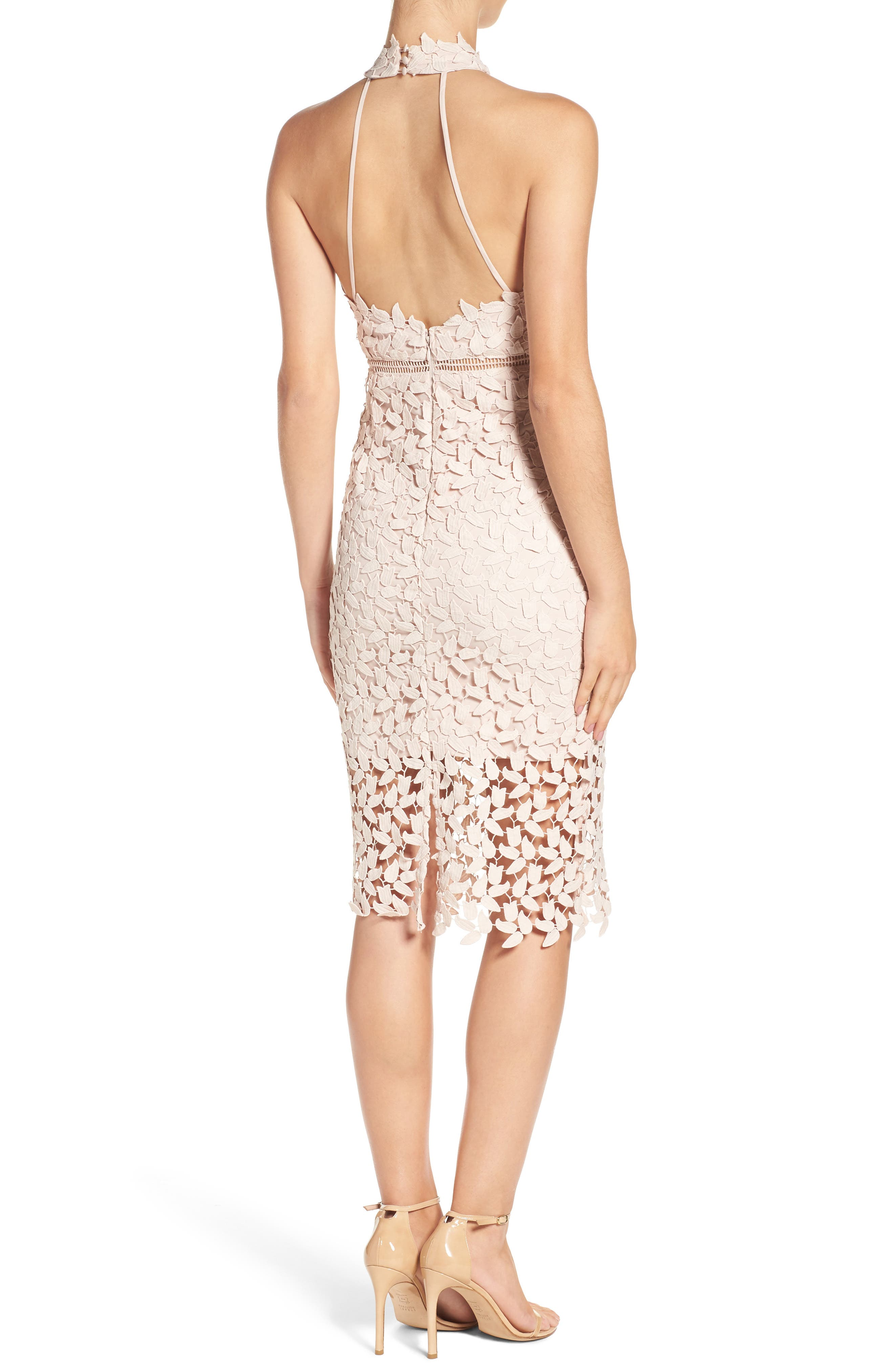 BARDOT, Gemma Halter Lace Sheath Dress, Alternate thumbnail 2, color, PROSECCO
