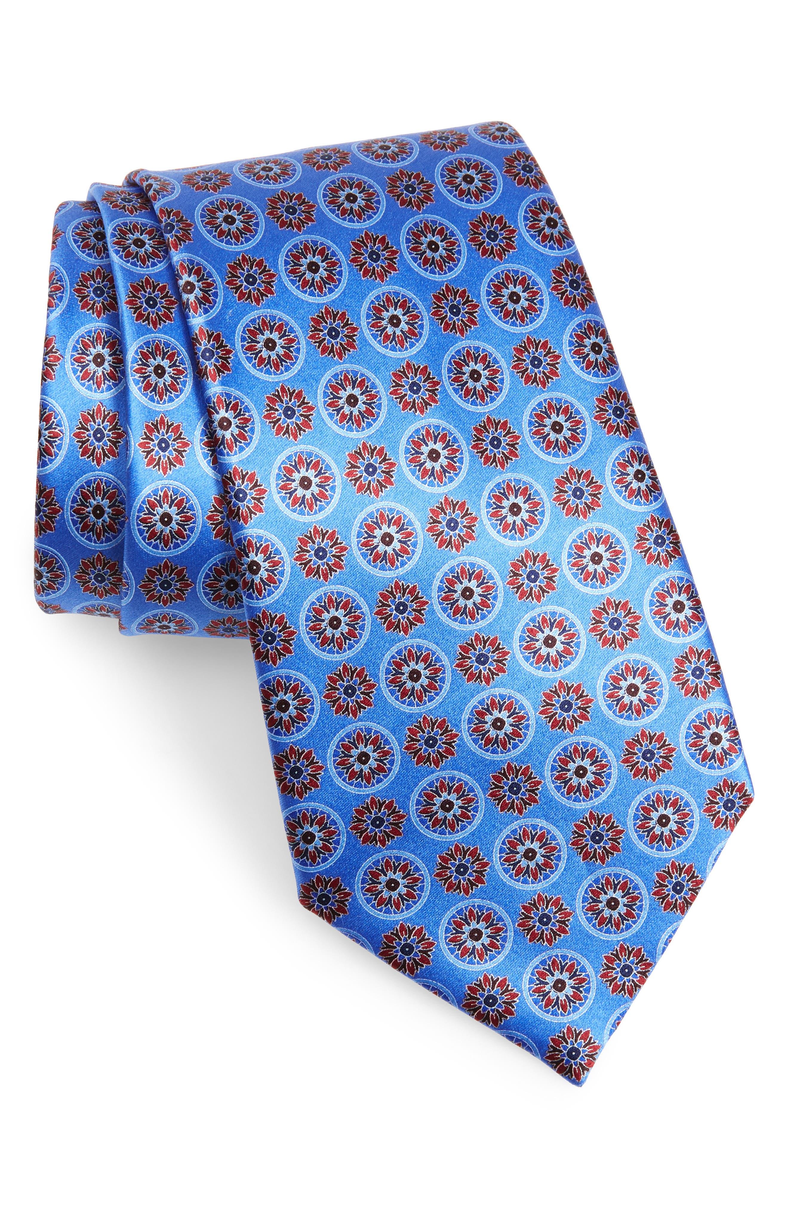 ERMENEGILDO ZEGNA, Floral Medallion Silk Tie, Main thumbnail 1, color, BLUE