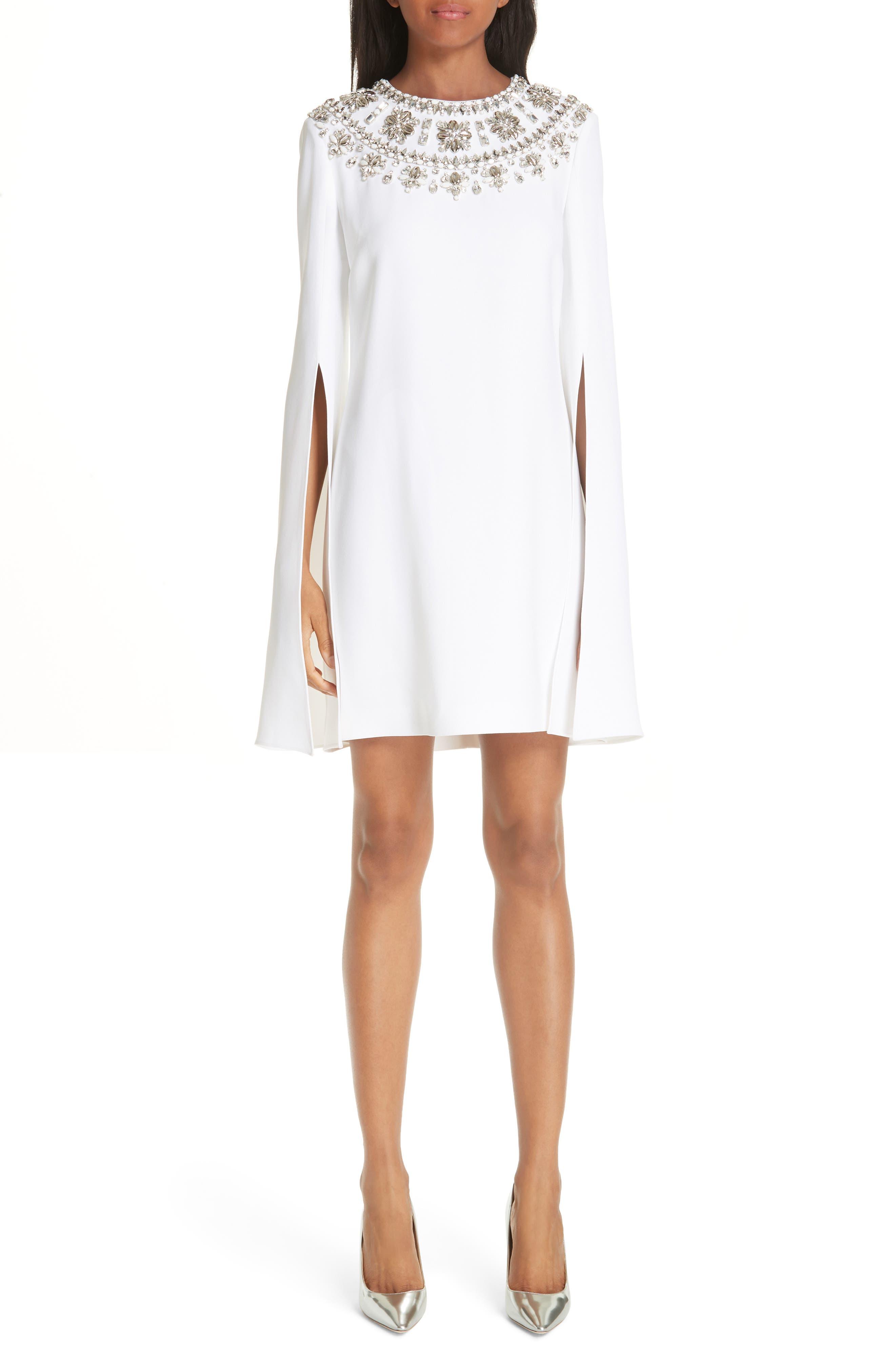 MICHAEL KORS, Crystal Embellished Split Sleeve Double Crepe Sable Dress, Main thumbnail 1, color, OPTIC WHITE W/ SILVER