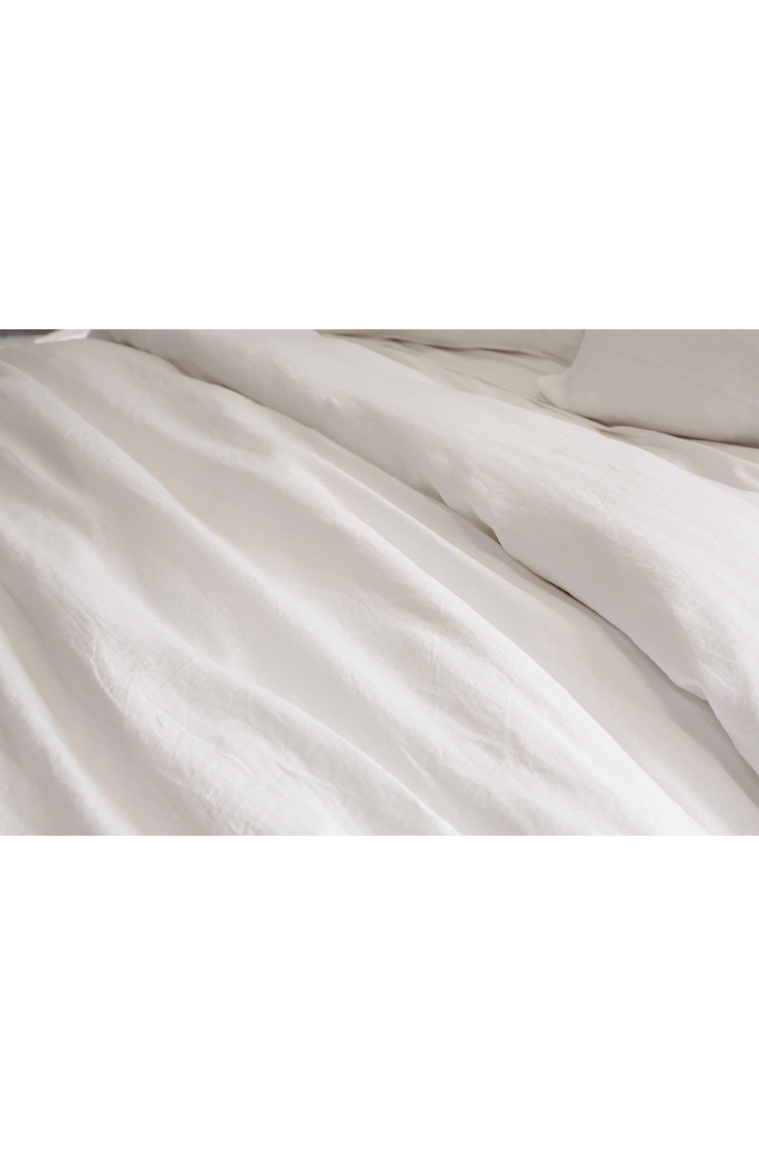 POM POM AT HOME, Parker Linen Duvet Cover & Sham Set, Alternate thumbnail 4, color, WHITE