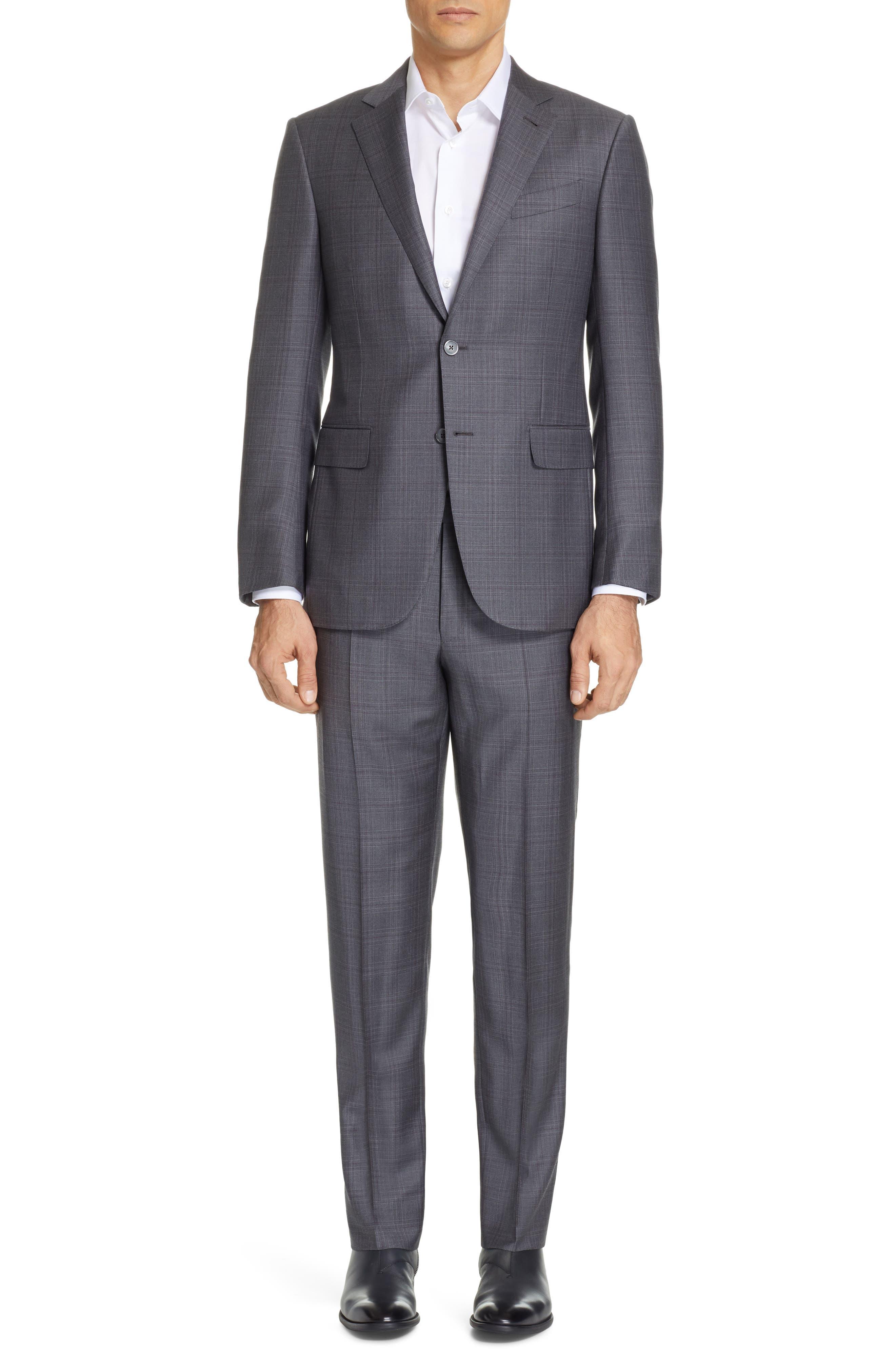 ERMENEGILDO ZEGNA, Milano Trofeo Classic Fit Plaid Wool Suit, Main thumbnail 1, color, GREY