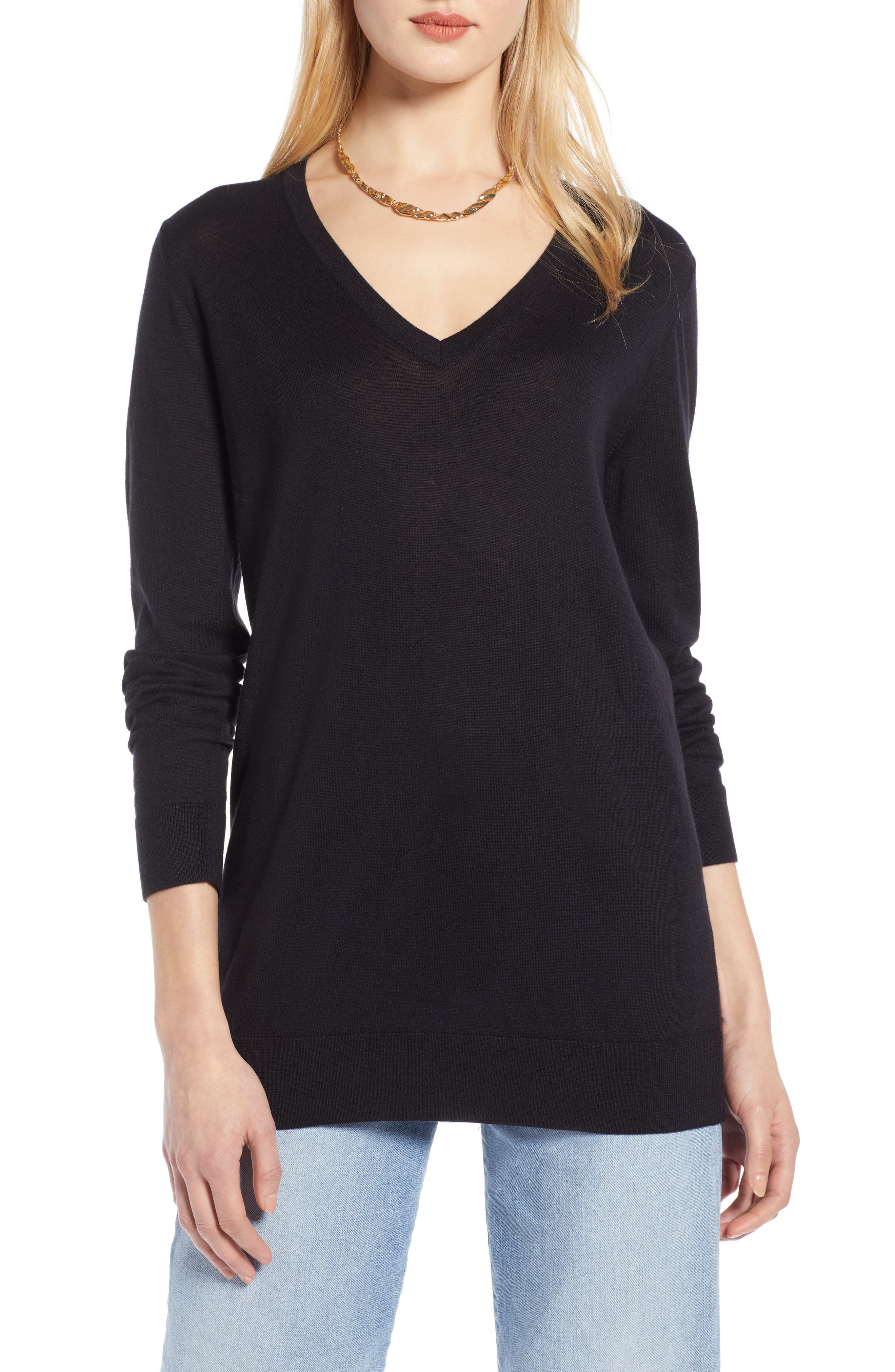 HALOGEN<SUP>®</SUP>, Relaxed V-Neck Sweater, Main thumbnail 1, color, BLACK