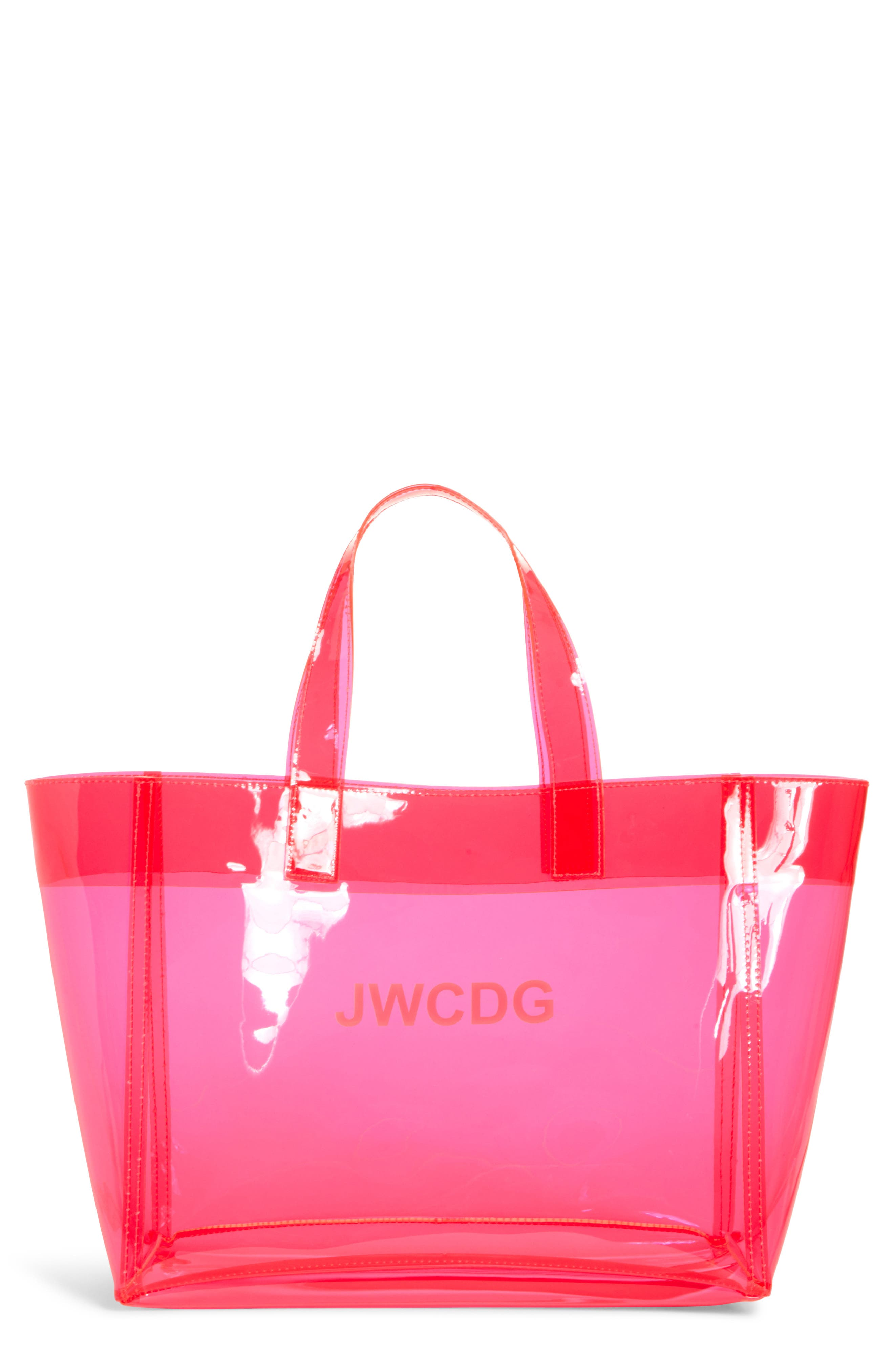 JUNYA WATANABE, Small Transparent Tote, Main thumbnail 1, color, PINK