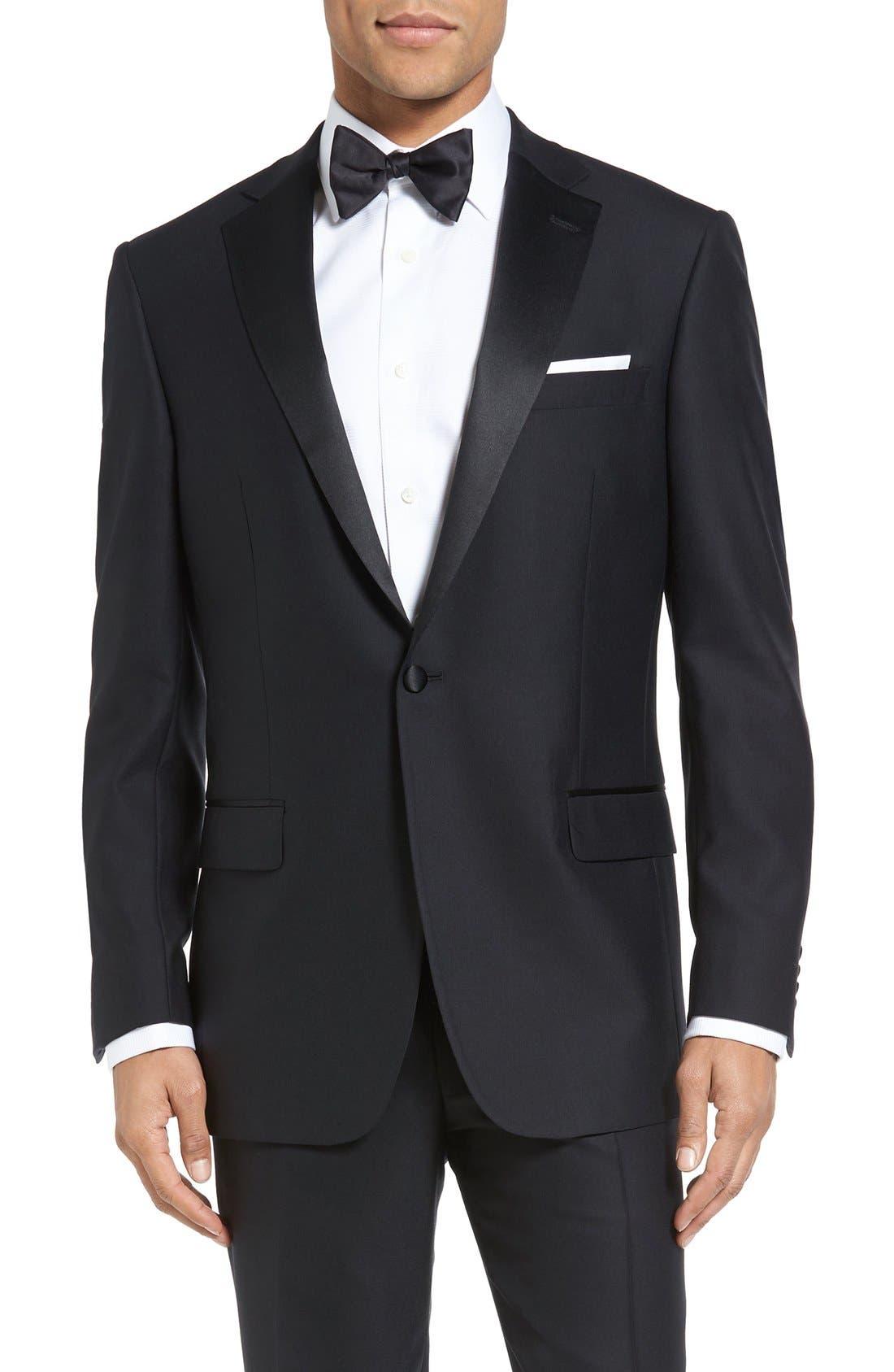 HART SCHAFFNER MARX, New York Classic Fit Black Wool Tuxedo, Alternate thumbnail 5, color, BLACK