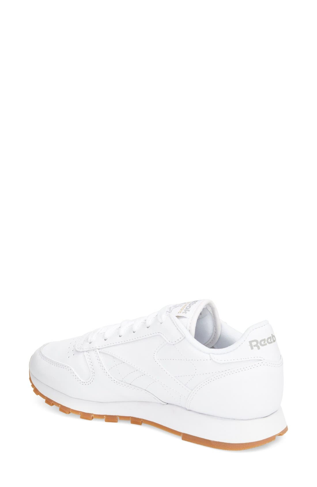 REEBOK, Classic Leather Sneaker, Alternate thumbnail 8, color, US-WHITE/ GUM