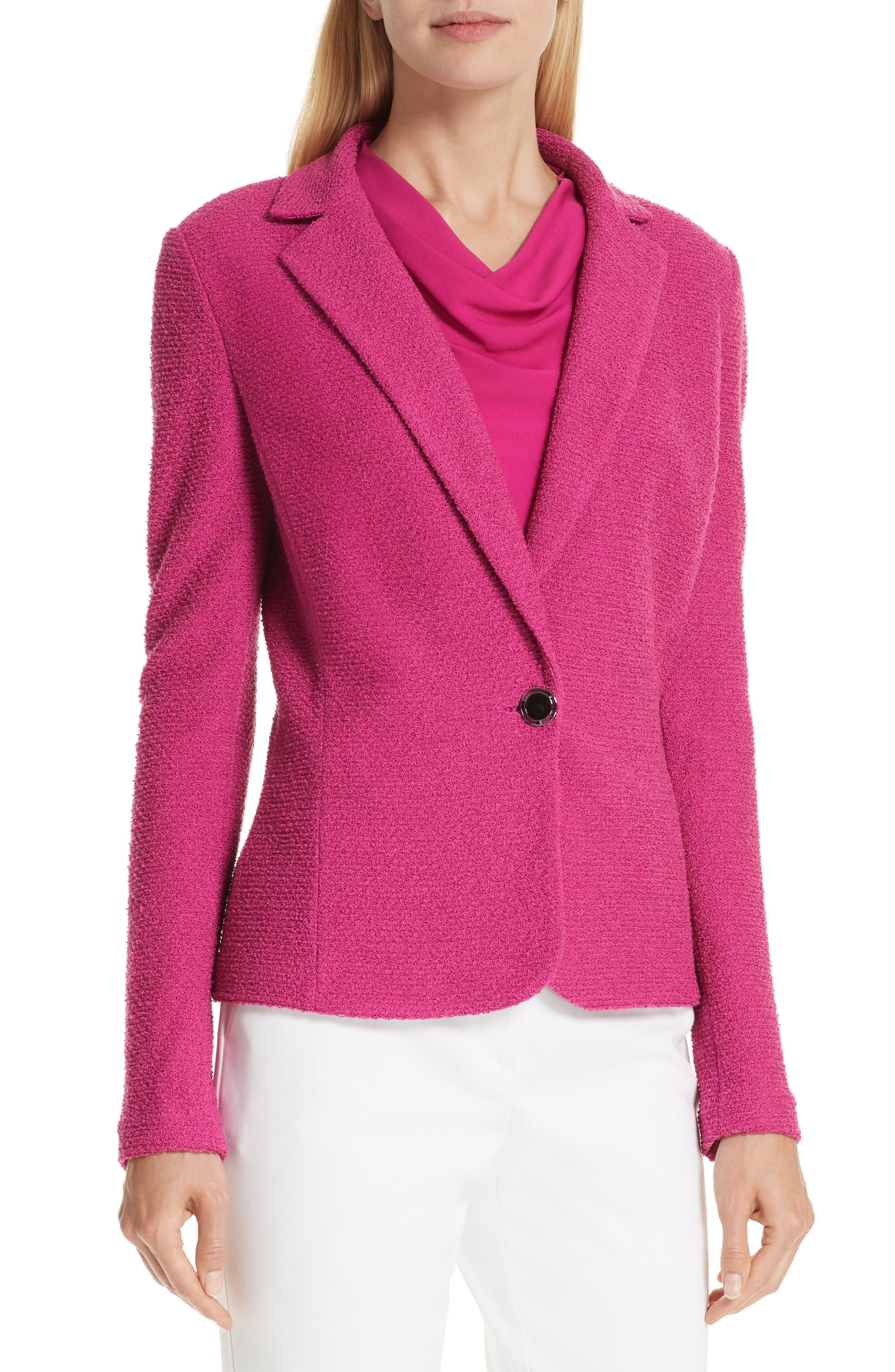 ST. JOHN COLLECTION, Refined Knit Jacket, Alternate thumbnail 5, color, CAMELLIA