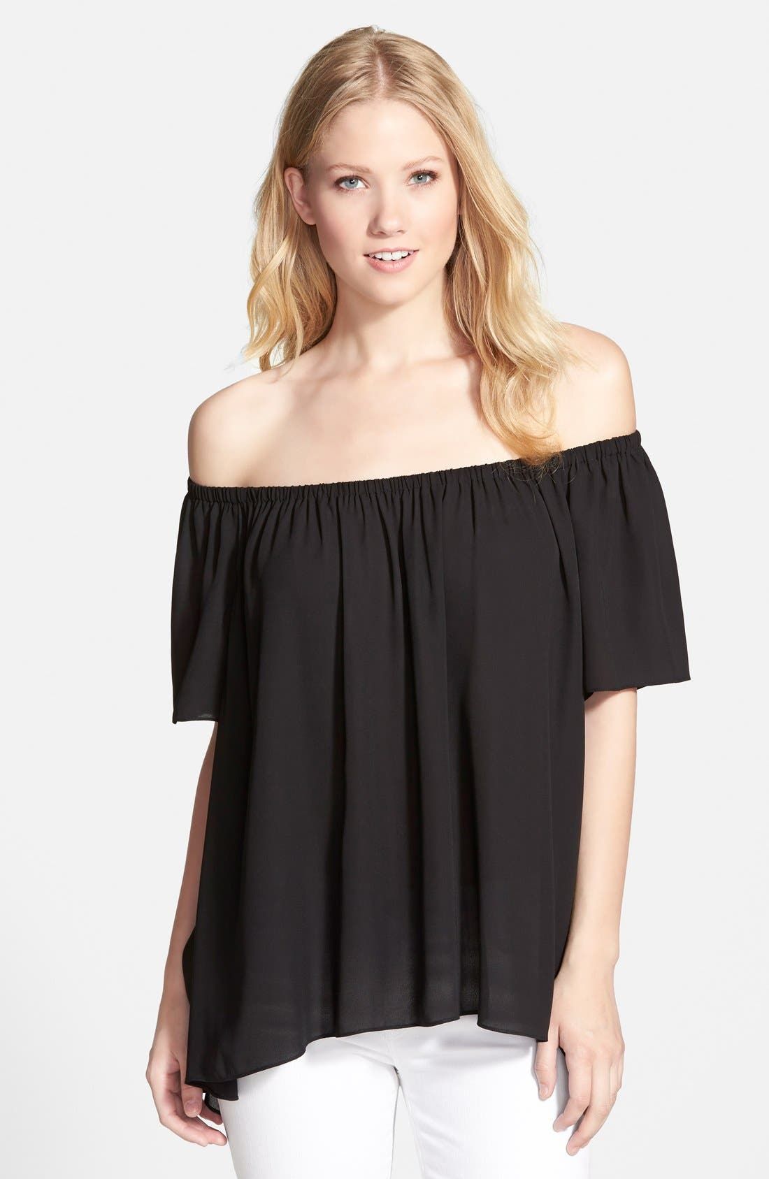 VINCE CAMUTO Off-Shoulder High/Low Blouse, Main, color, 999