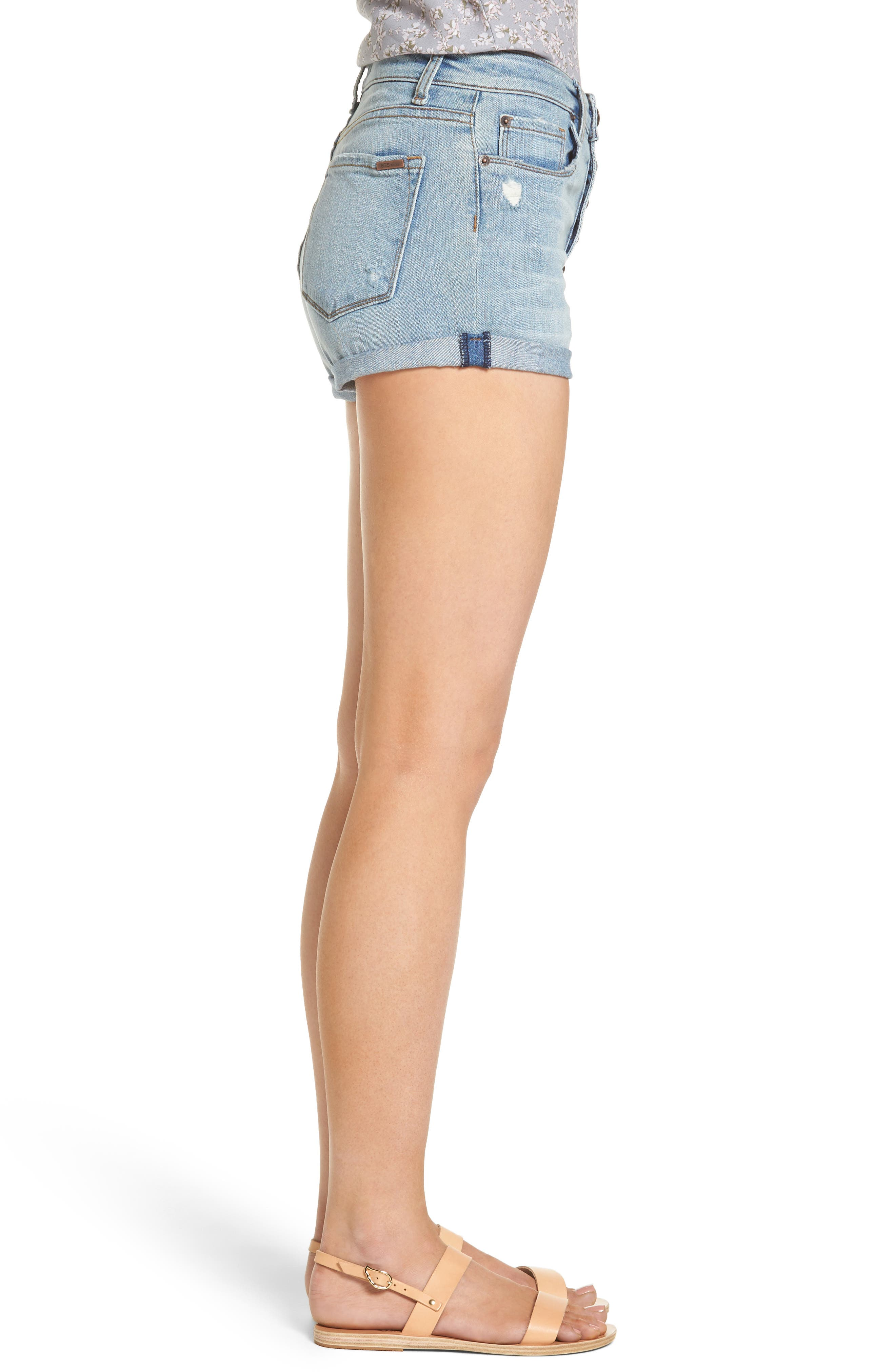 STS BLUE, Roll Cuff Denim Shorts, Alternate thumbnail 3, color, 400