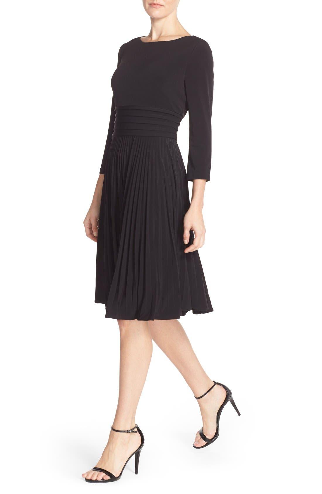 ELIZA J, Pleated Jersey Fit & Flare Dress, Alternate thumbnail 5, color, 001